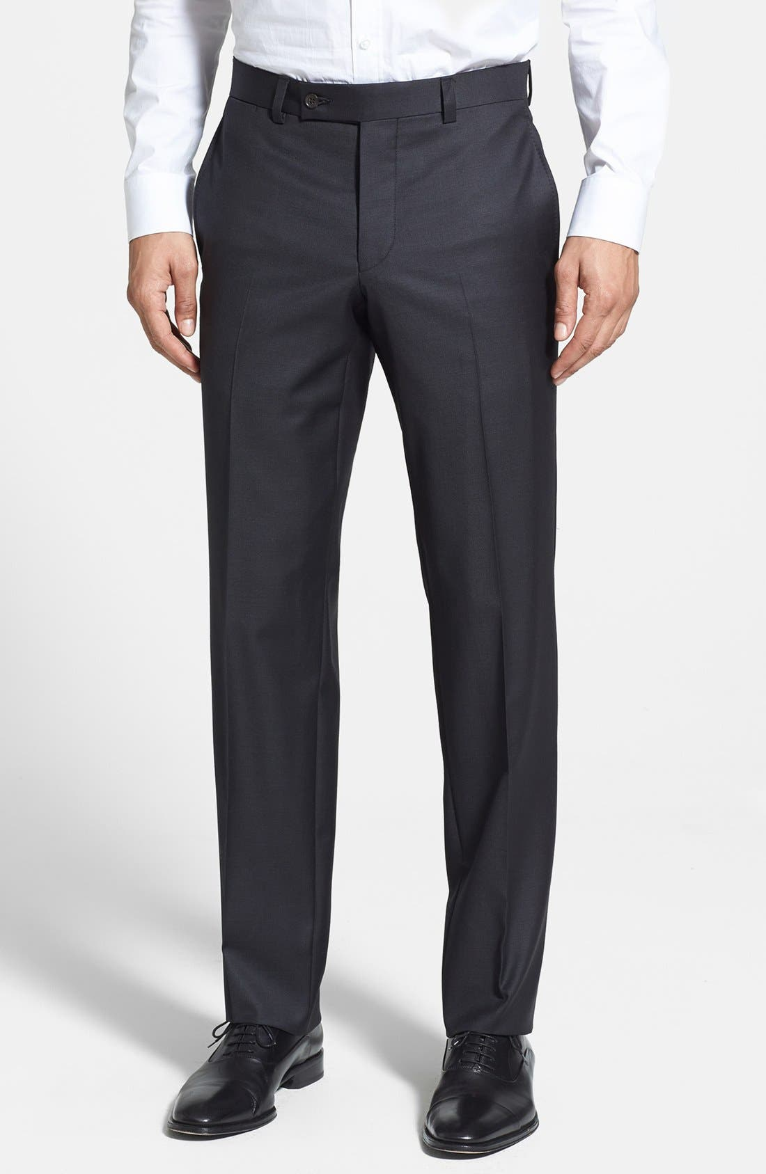 Jefferson Flat Front Wool Trousers,                             Main thumbnail 4, color,