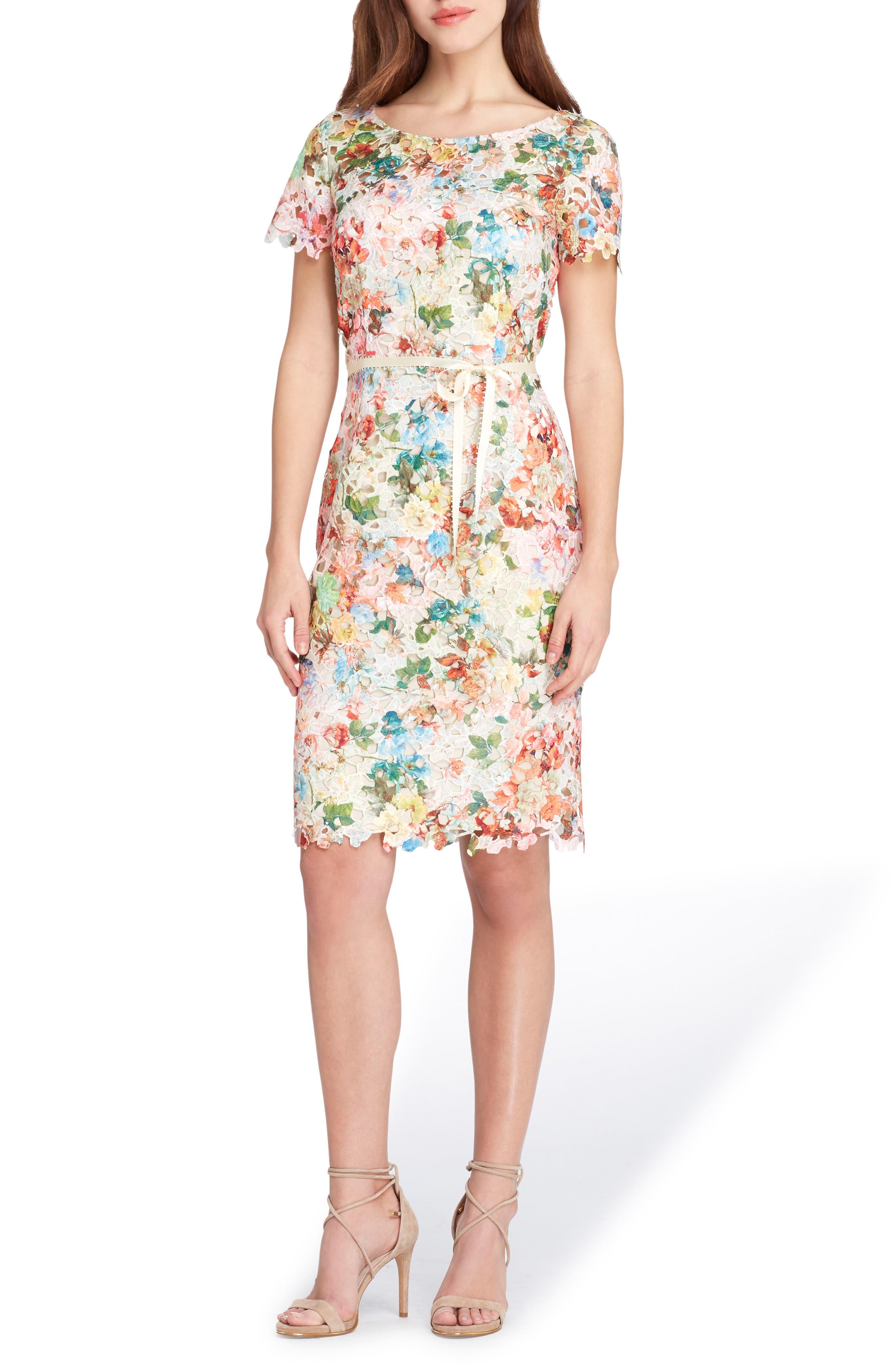 TAHARI Print Lace Sheath Dress, Main, color, 800