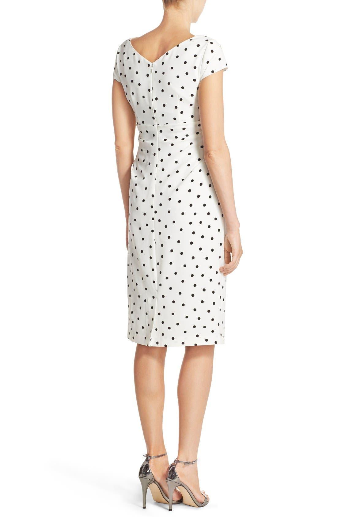 ADRIANNA PAPELL,                             Polka Dot Crepe Sheath Dress,                             Alternate thumbnail 3, color,                             900