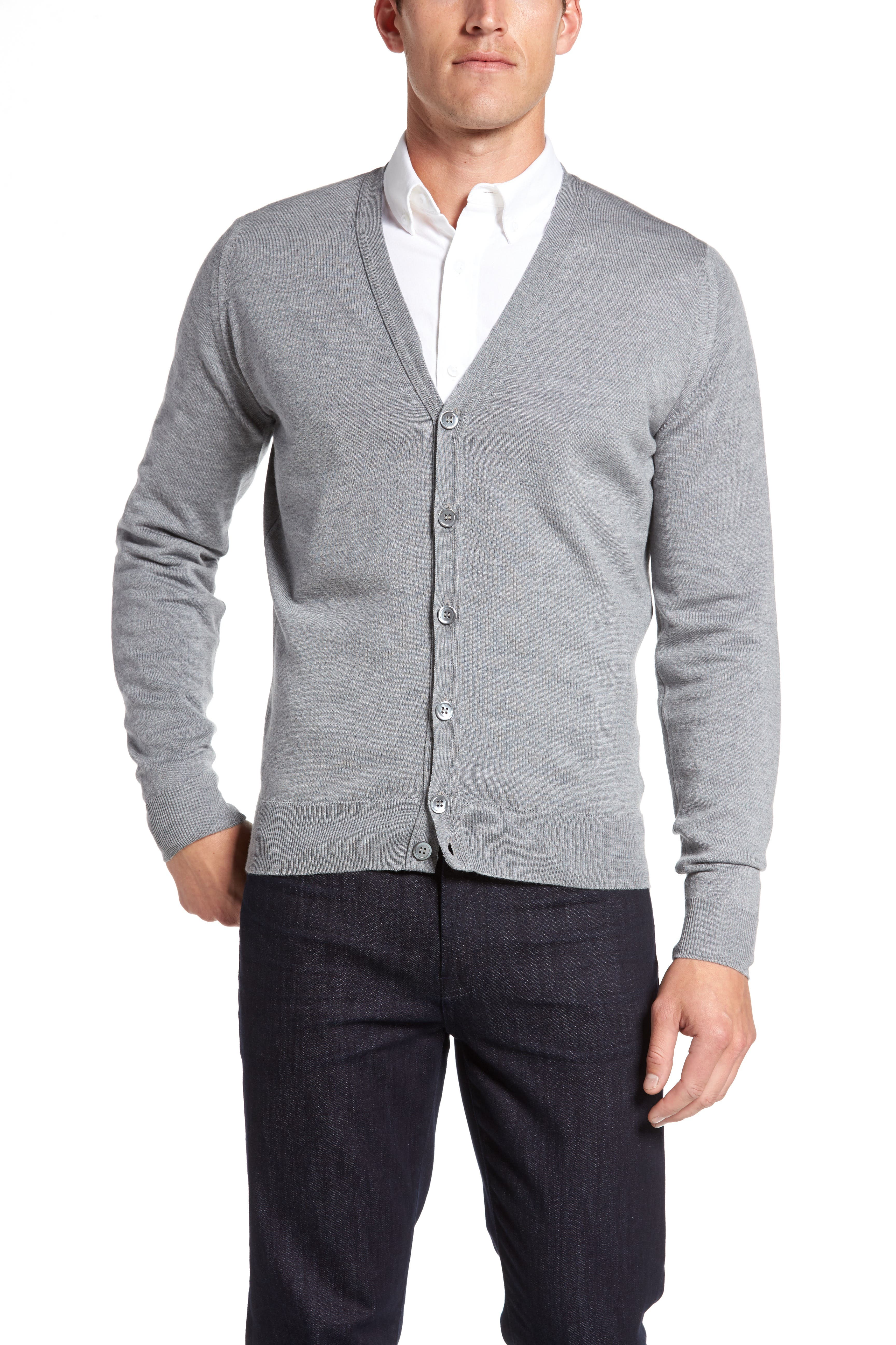 'Bryn' Easy Fit Wool Button Cardigan,                             Alternate thumbnail 4, color,                             SILVER