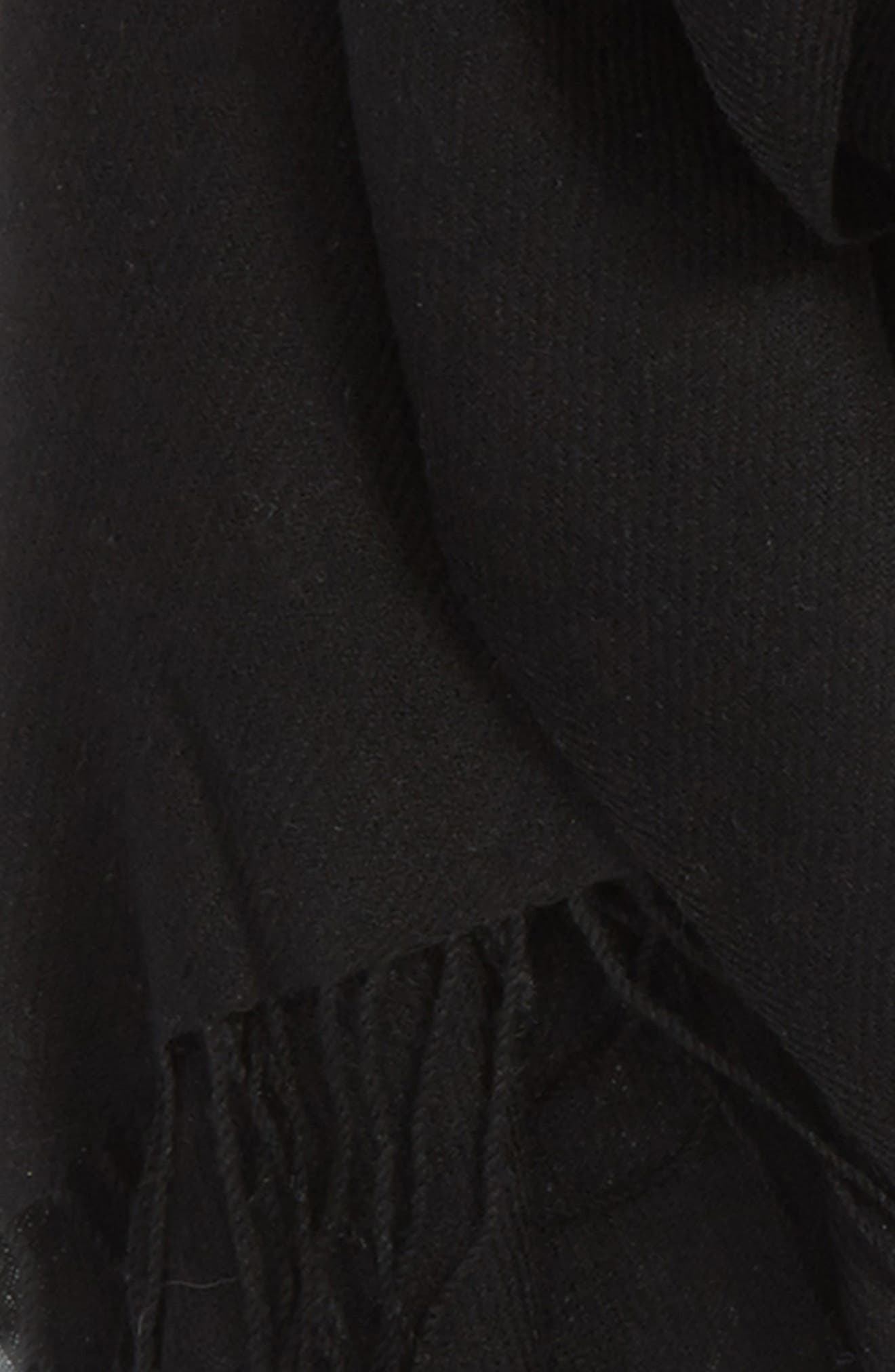 Tissue Weight Wool & Cashmere Scarf,                             Alternate thumbnail 4, color,                             BLACK