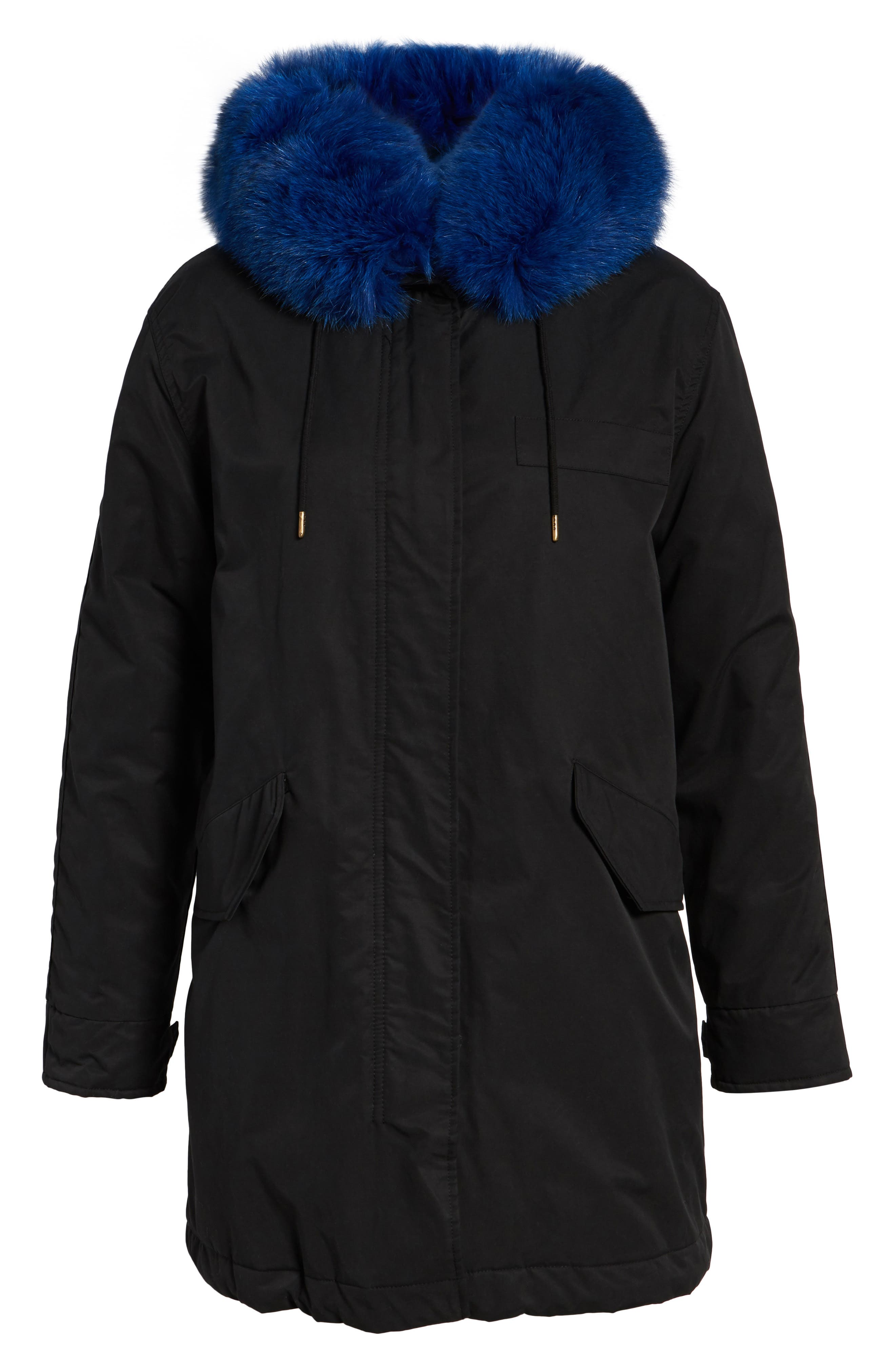 Hooded Cotton Parka with Genuine Fox Fur Trim,                             Alternate thumbnail 5, color,                             001
