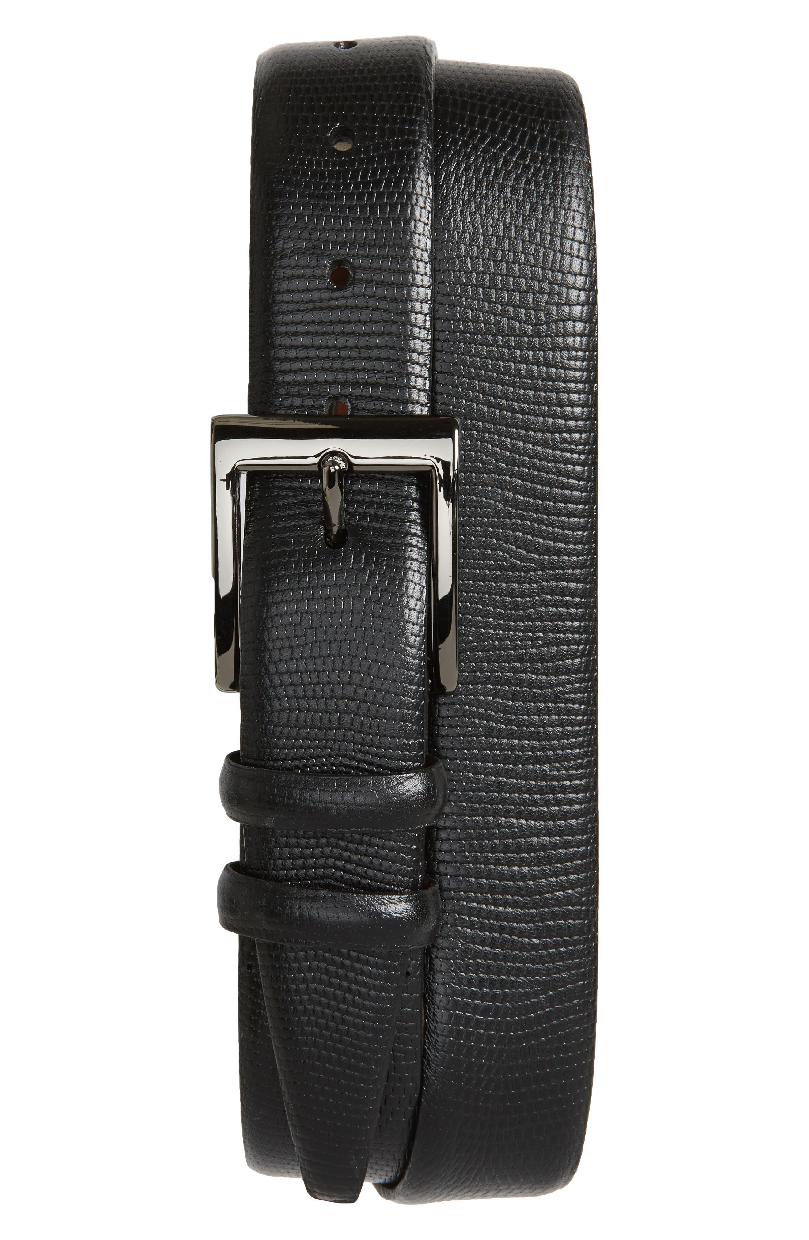 Lizard Embossed Leather Belt,                             Main thumbnail 1, color,                             BLACK