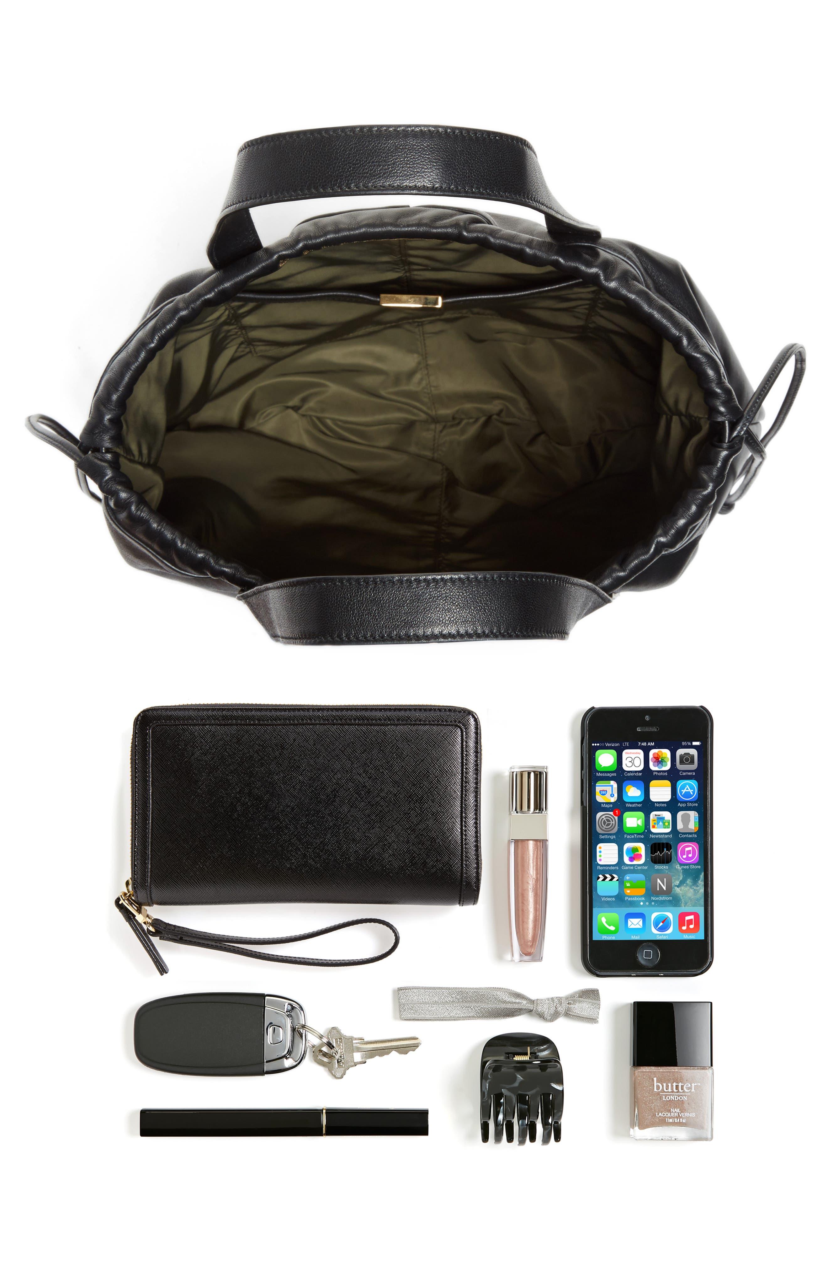 Helmet Lambskin Bucket Bag,                             Alternate thumbnail 6, color,                             BLACK