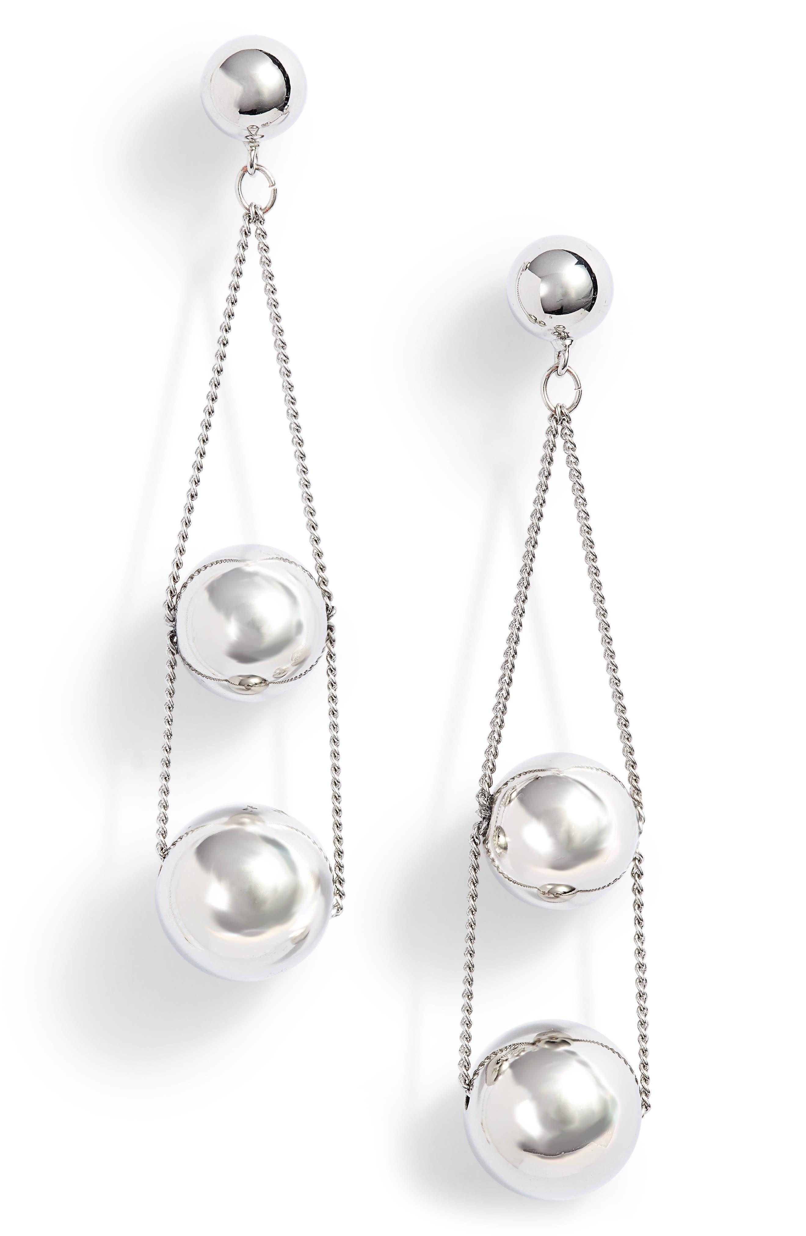 Triple Sphere Chain Drop Earrings,                             Main thumbnail 1, color,