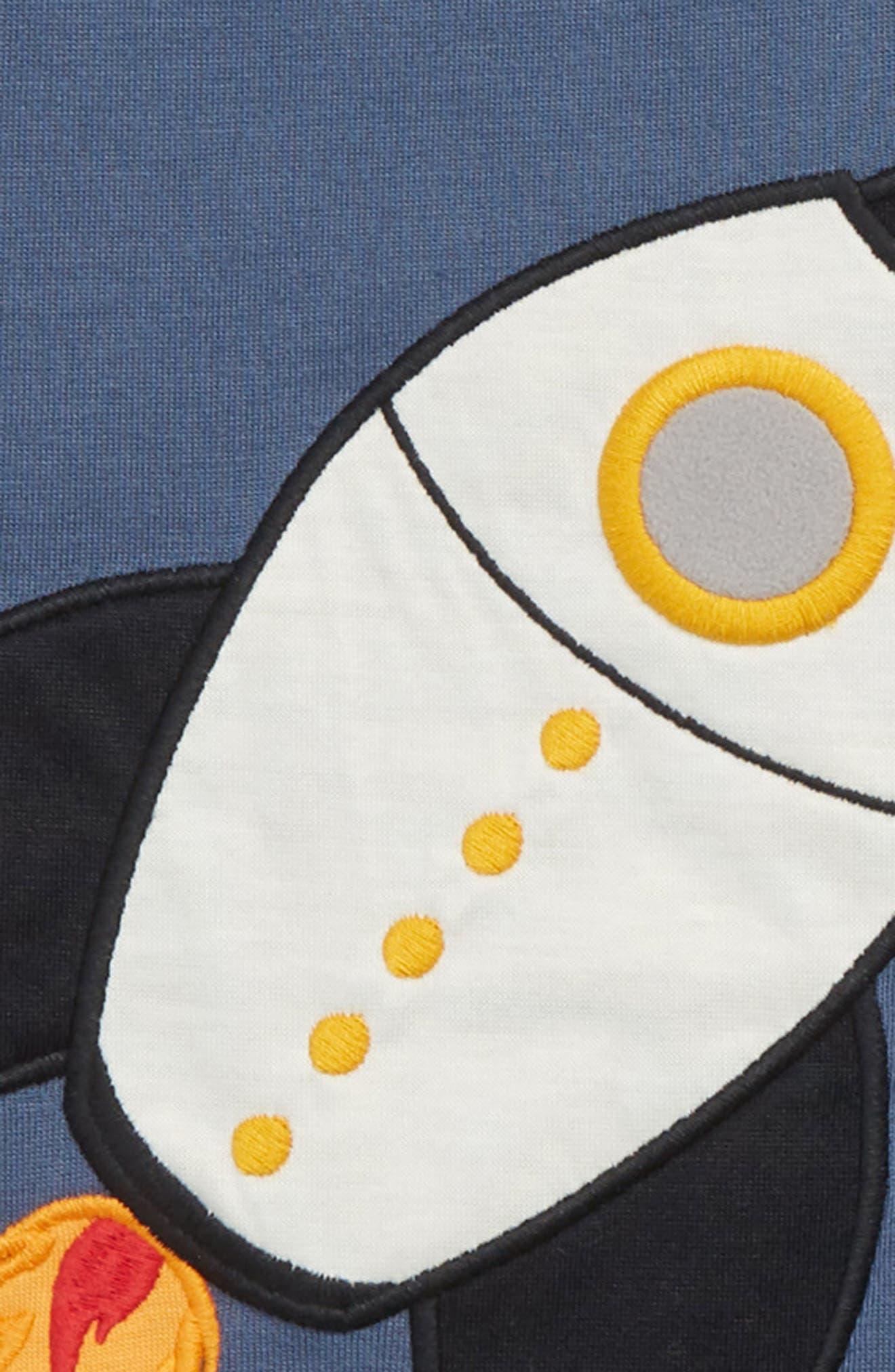 Appliqué Two-Piece Pajamas,                             Alternate thumbnail 2, color,                             BLUE VINTAGE ROCKET