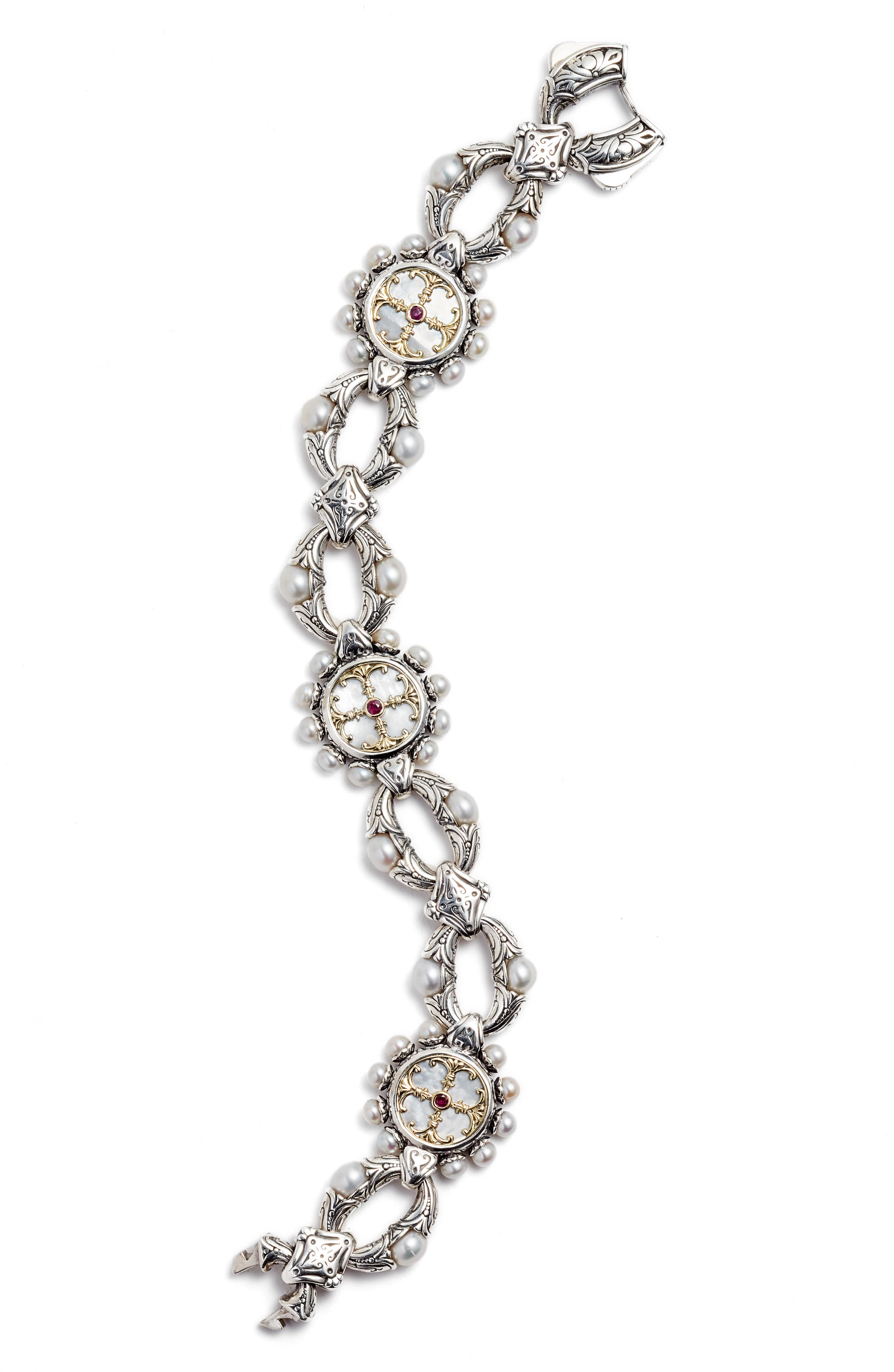 Silver Mother-of-Pearl & Ruby Bracelet,                             Main thumbnail 1, color,                             SILVER/ GOLD/ RED/ WHITE
