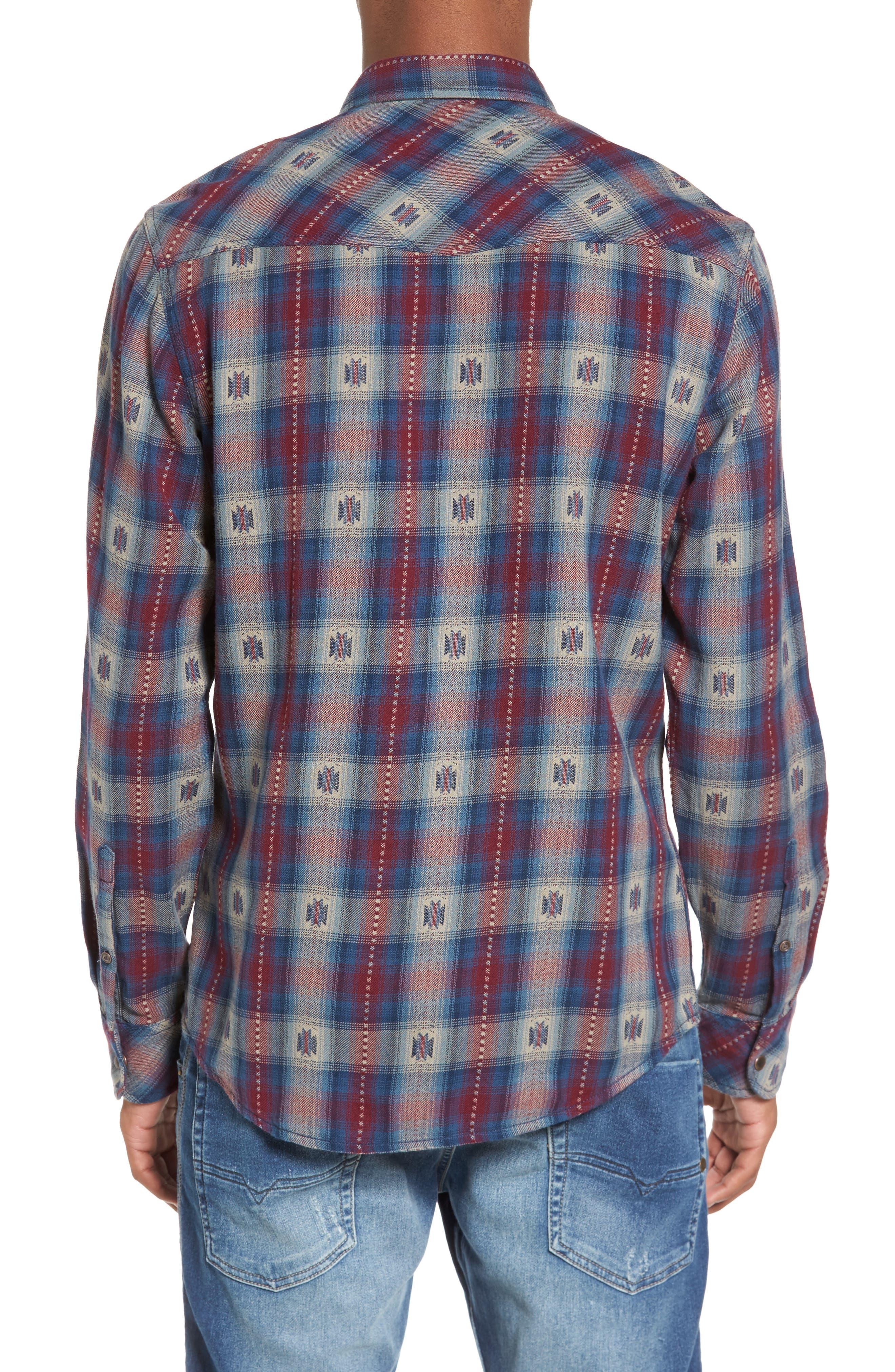 Feliz Dobby Plaid Western Shirt,                             Alternate thumbnail 4, color,