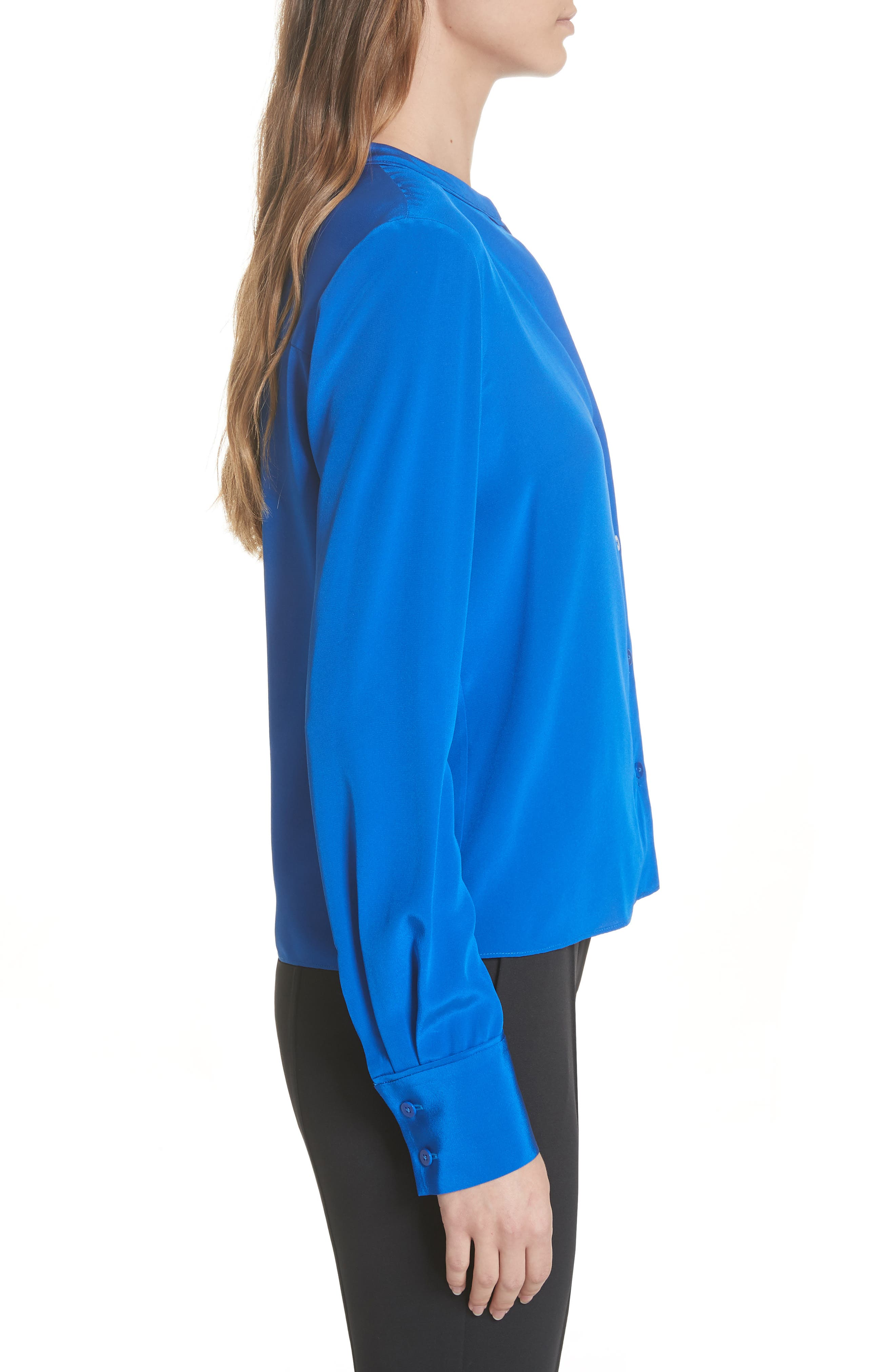 Front Button Collarless Silk Blouse,                             Alternate thumbnail 3, color,                             COBALT