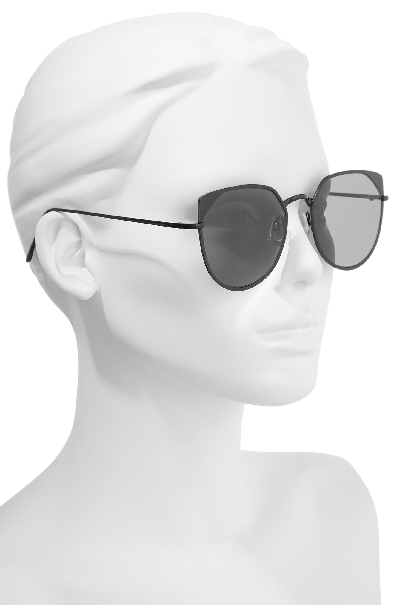 55mm Mirrored Cat Eye Sunglasses,                             Alternate thumbnail 3, color,