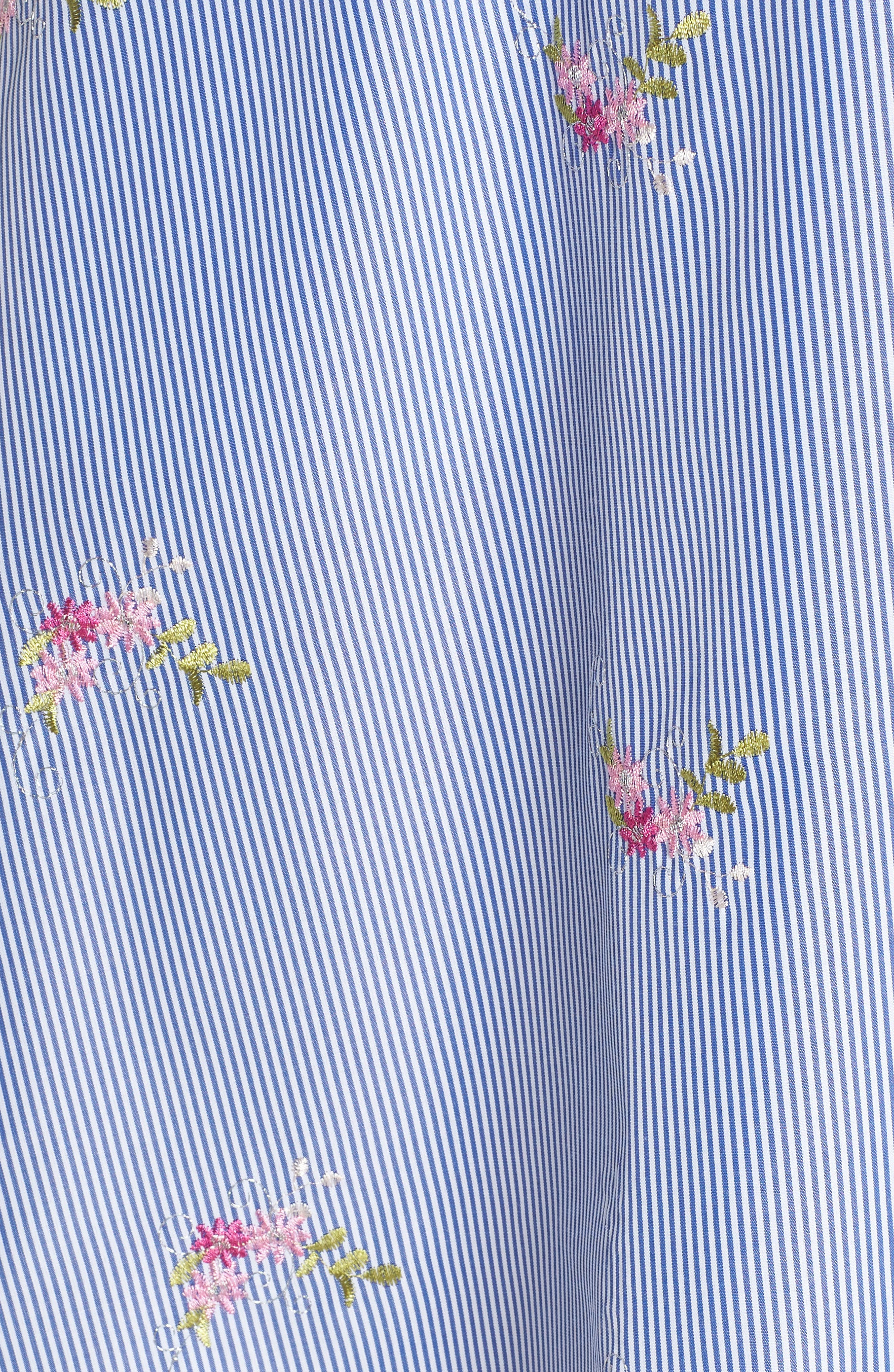 Embroidered Stripe Shirtdress,                             Alternate thumbnail 5, color,                             NAVY/ WHITE/ PINK