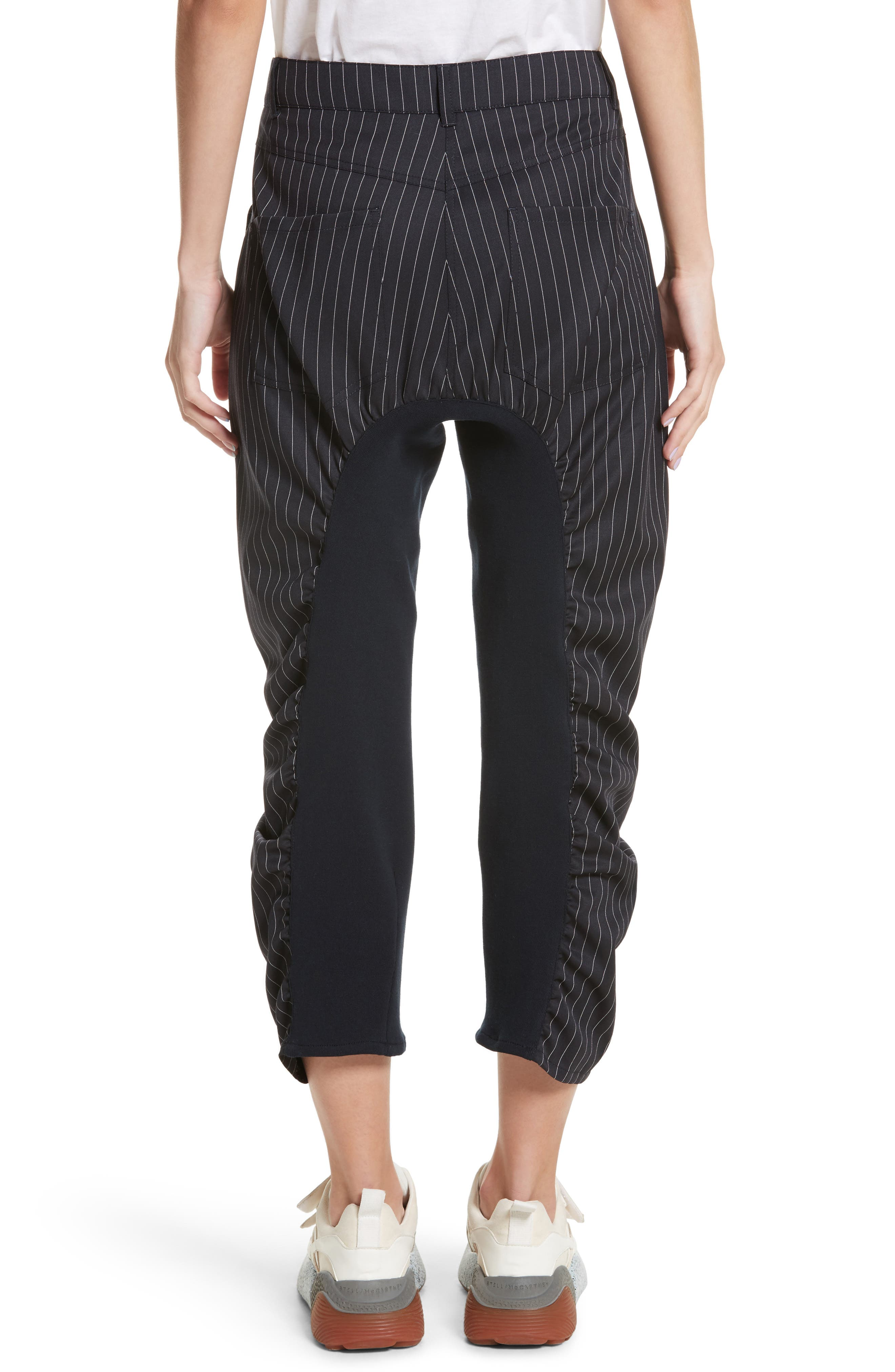 Ruched Pinstripe Trousers,                             Alternate thumbnail 2, color,                             010
