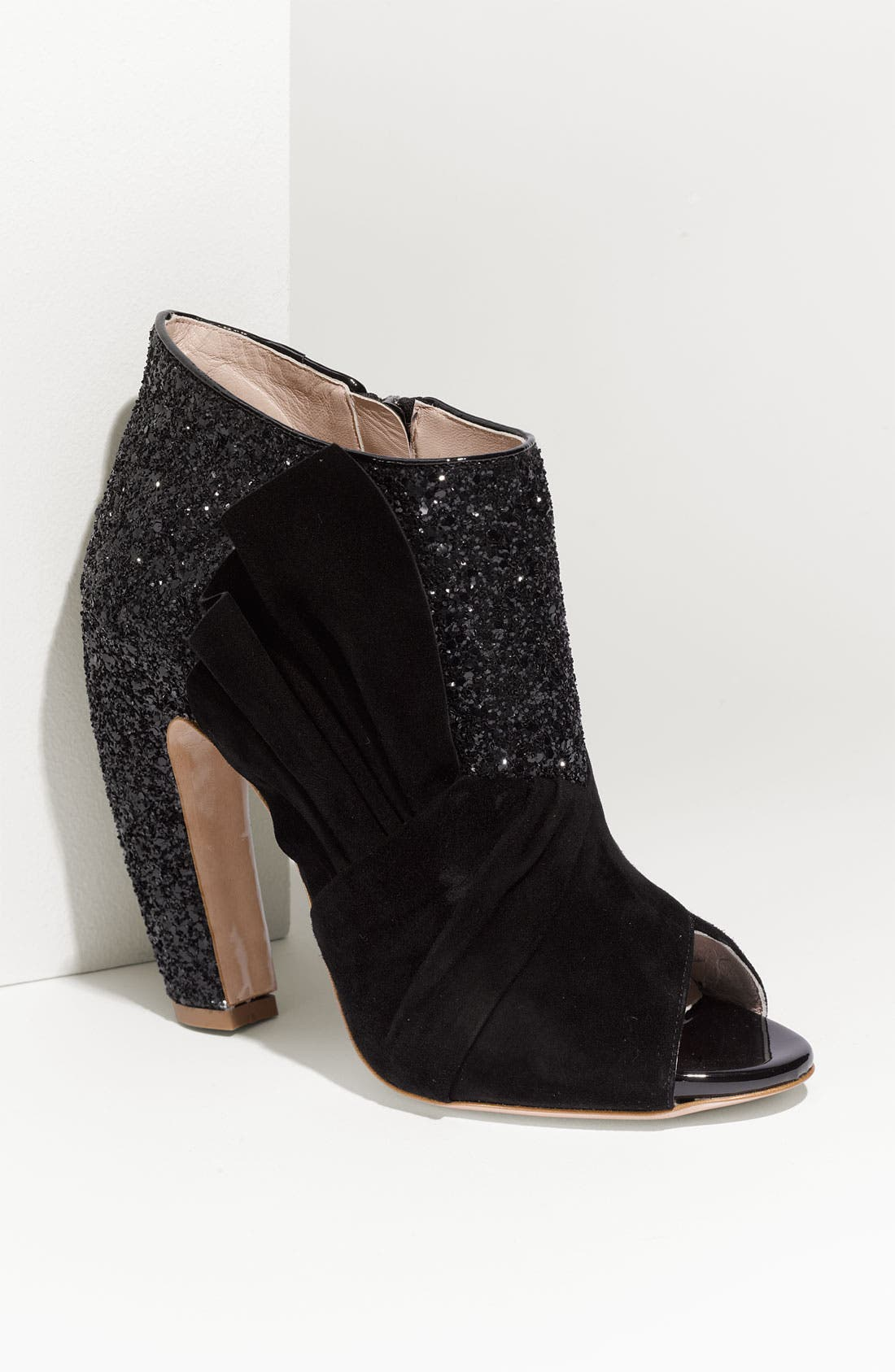Open Toe Glitter Ankle Boot,                             Main thumbnail 1, color,                             001