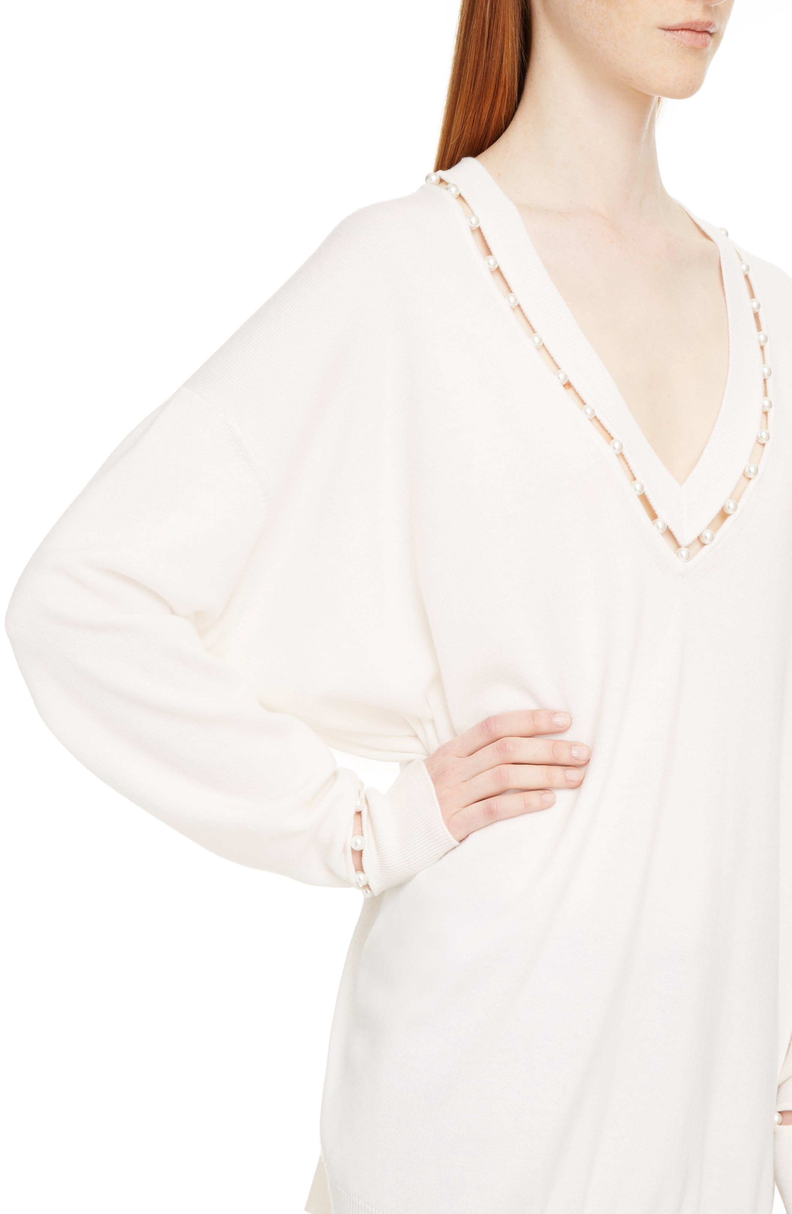 Imitation Pearl Embellished Cashmere & Wool Sweater,                             Alternate thumbnail 4, color,                             OFF WHITE