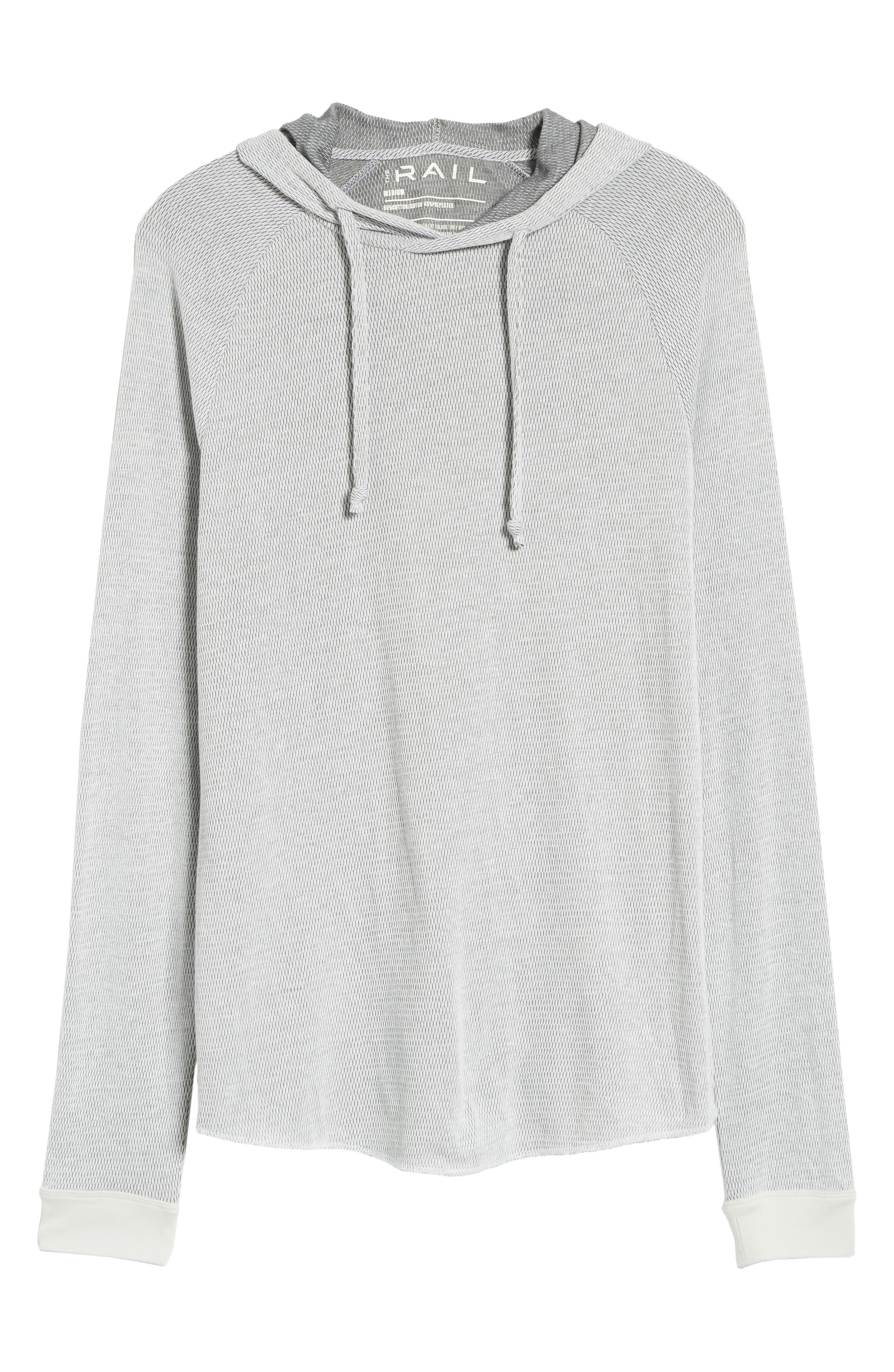 Thermal Knit Raglan Hoodie,                             Alternate thumbnail 6, color,                             GREY/ WHITE TWO TONE