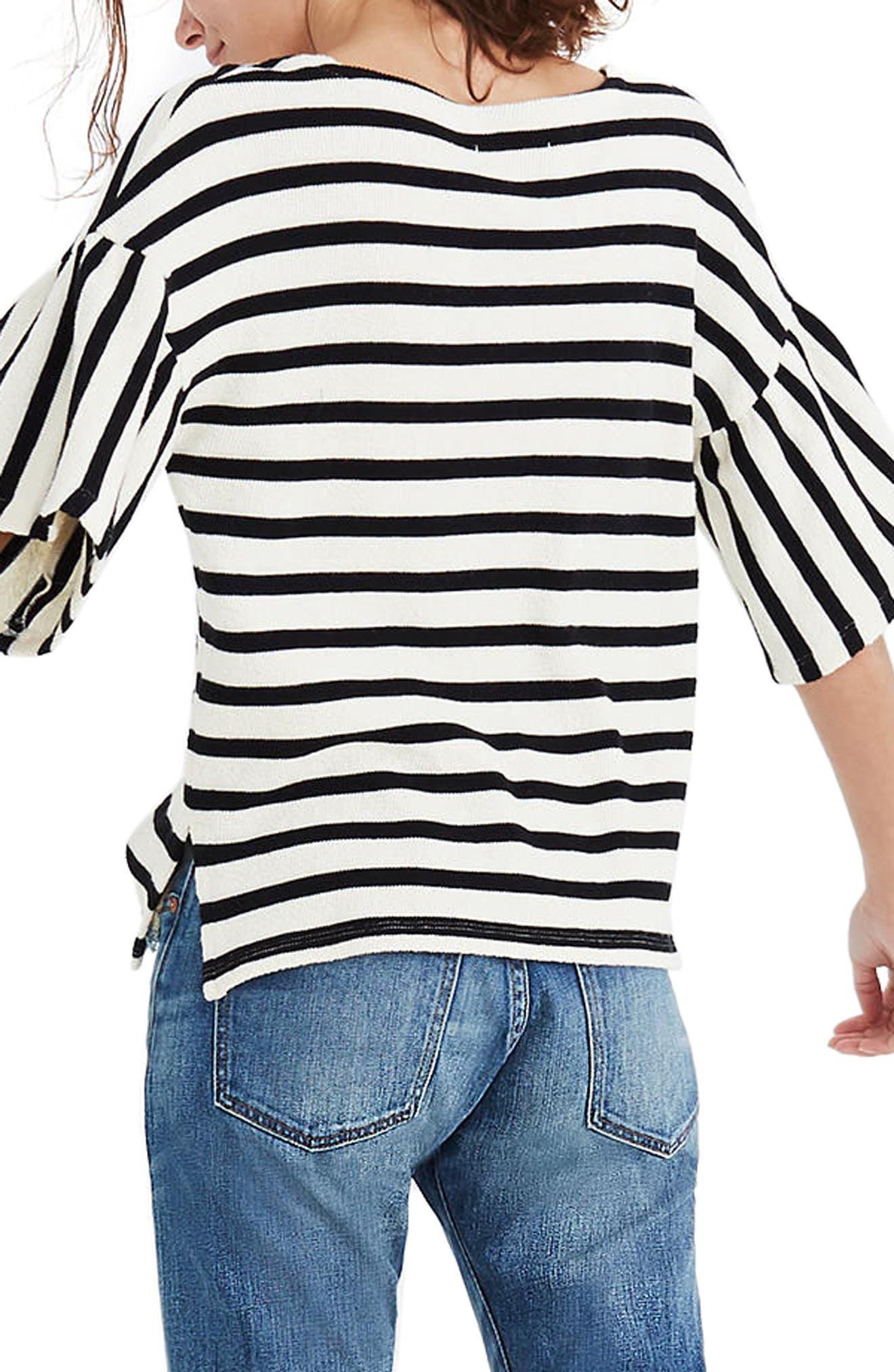 Stripe Bell Sleeve Top,                             Alternate thumbnail 2, color,                             001