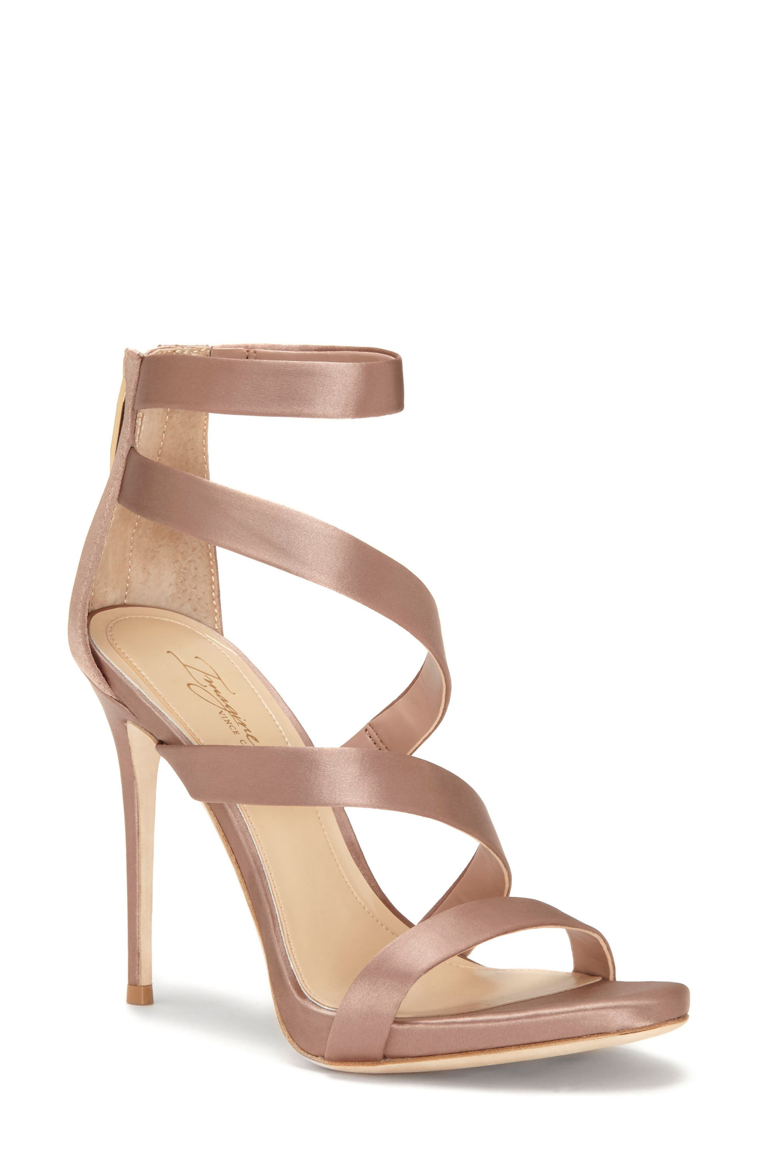 Imagine Vince Camuto Dalles Tall Strappy Sandal,                             Main thumbnail 1, color,                             WARM TAUPE SATIN