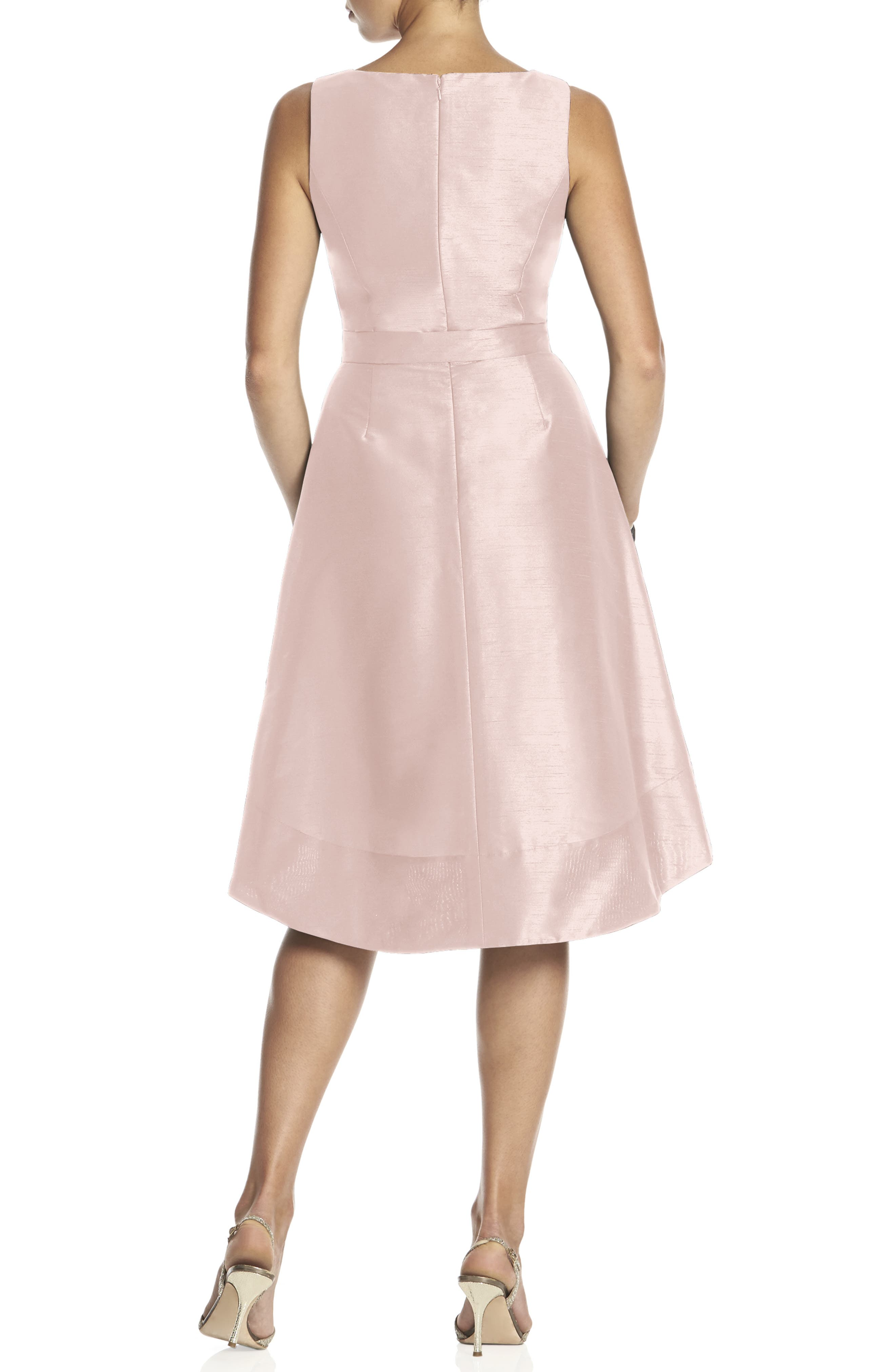Satin High/Low Fit & Flare Dress,                             Alternate thumbnail 2, color,                             PEARL PINK