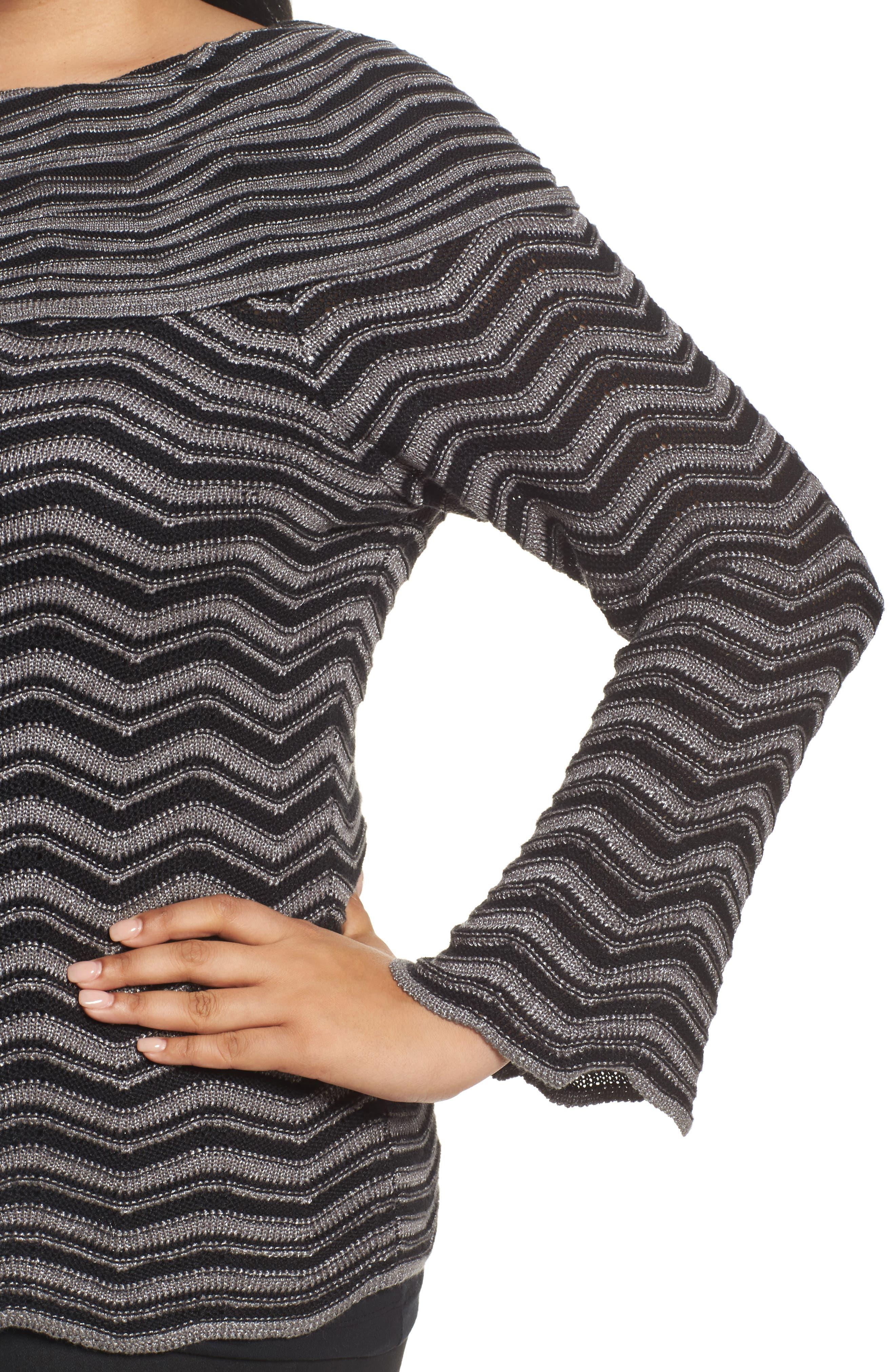 Zigzag Stripe Sweater,                             Alternate thumbnail 4, color,                             004