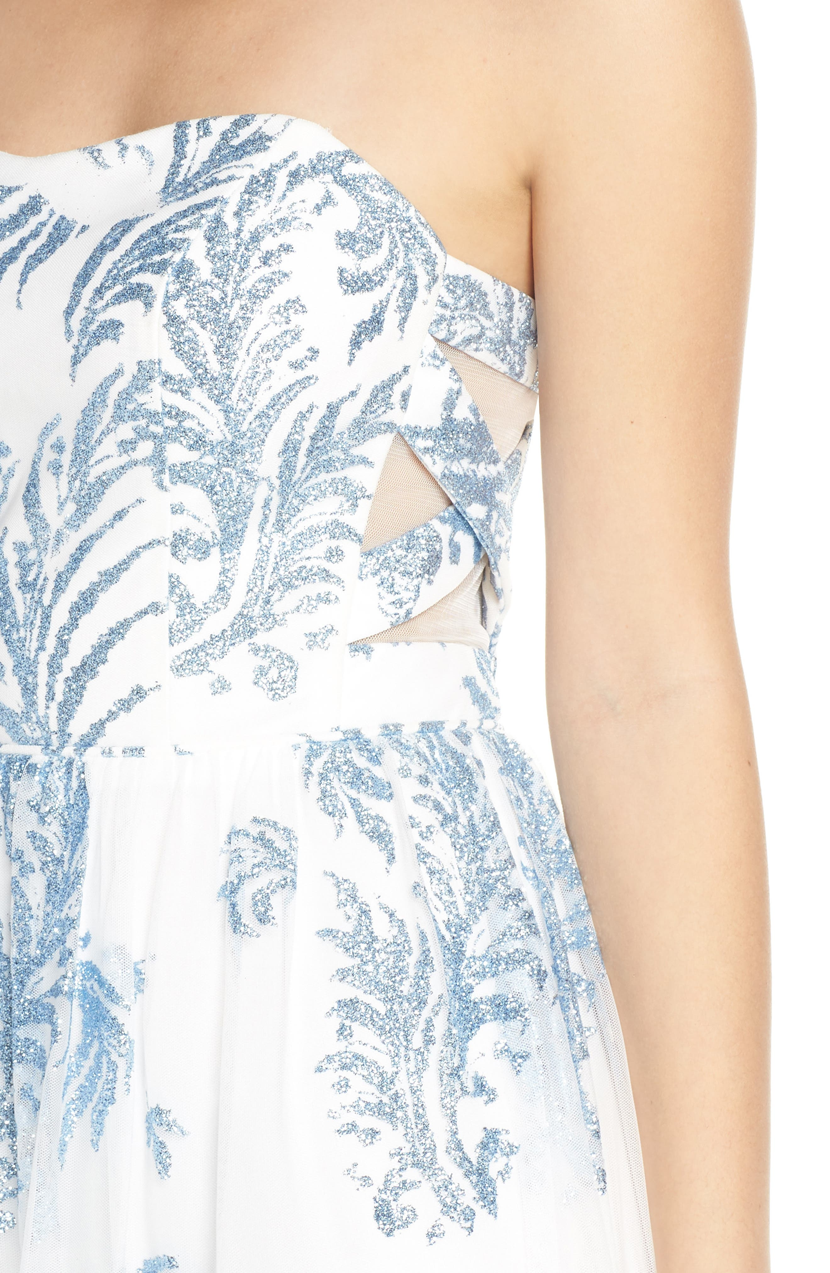 Strapless Glitter Mesh Evening Dress,                             Alternate thumbnail 4, color,                             IVORY/ BLUE