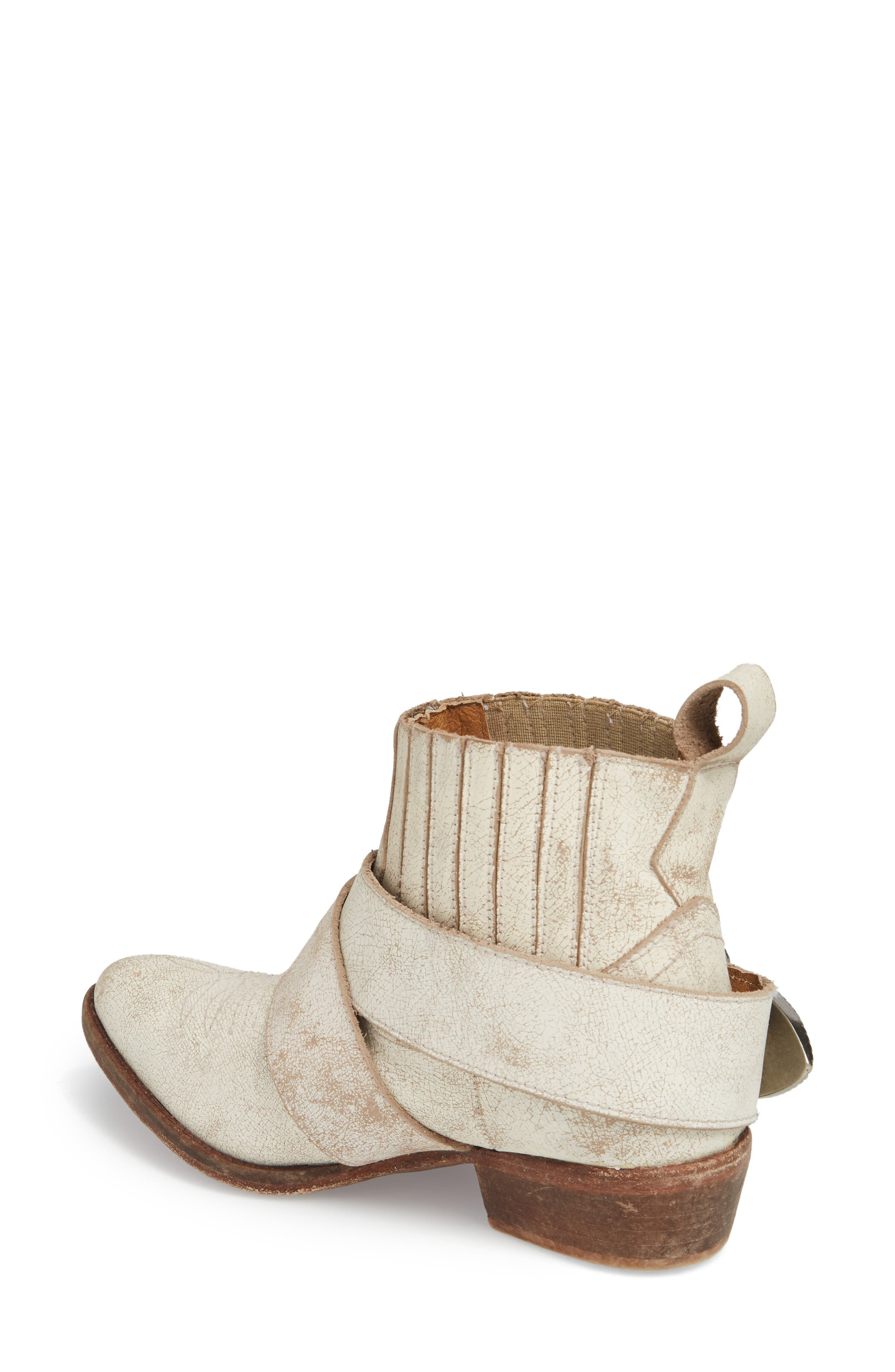 Western Biker Bootie,                             Alternate thumbnail 2, color,                             WHITE LEATHER