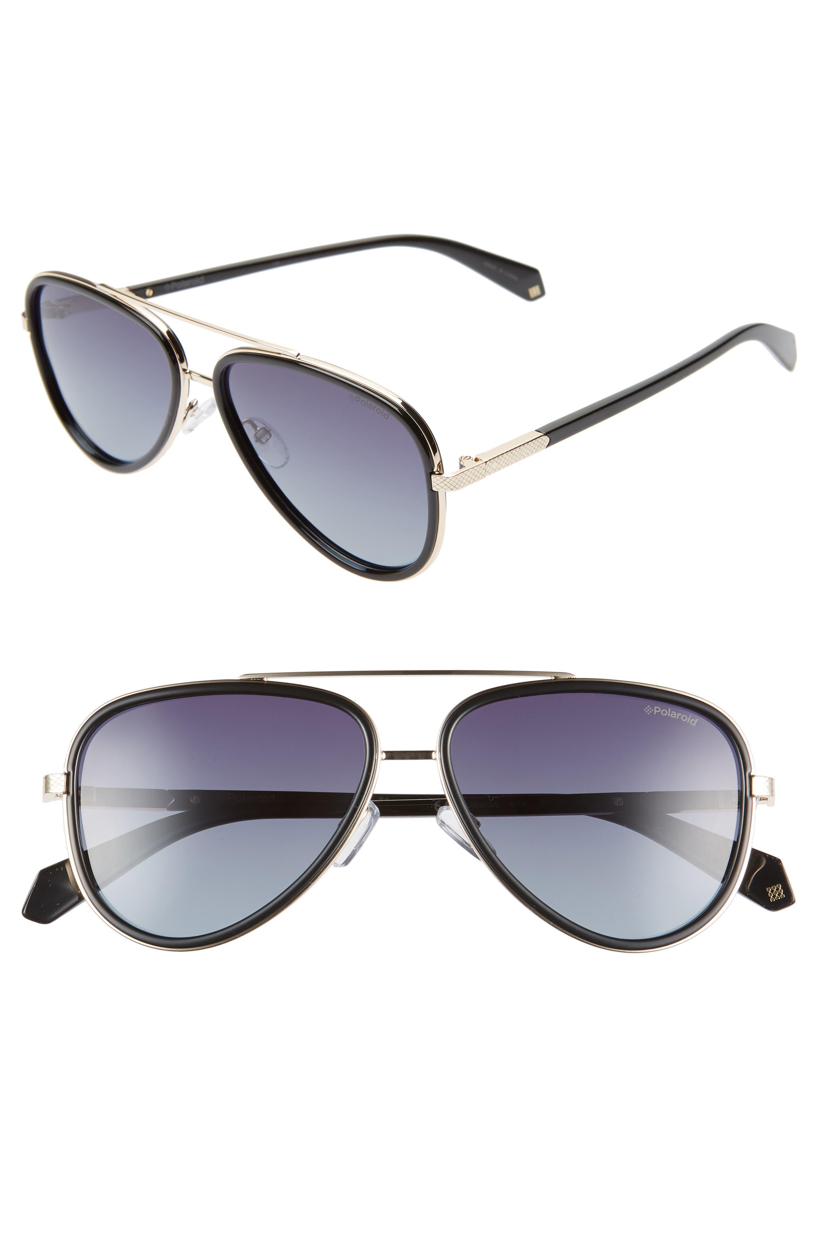 Polaroid 57Mm Polarized Aviator Sunglasses - Black