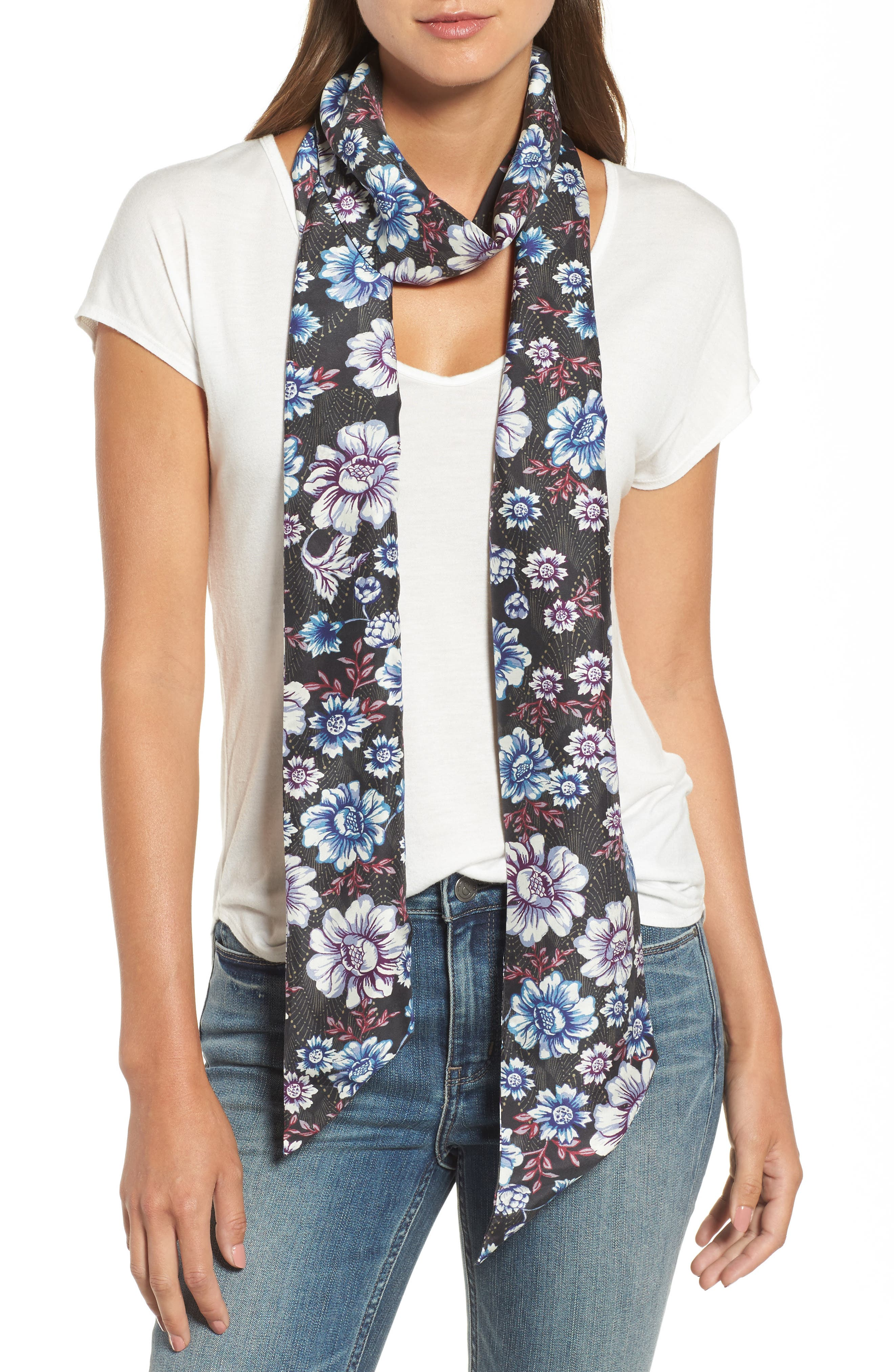 Mirrored Floral Silk Skinny Scarf,                             Main thumbnail 1, color,