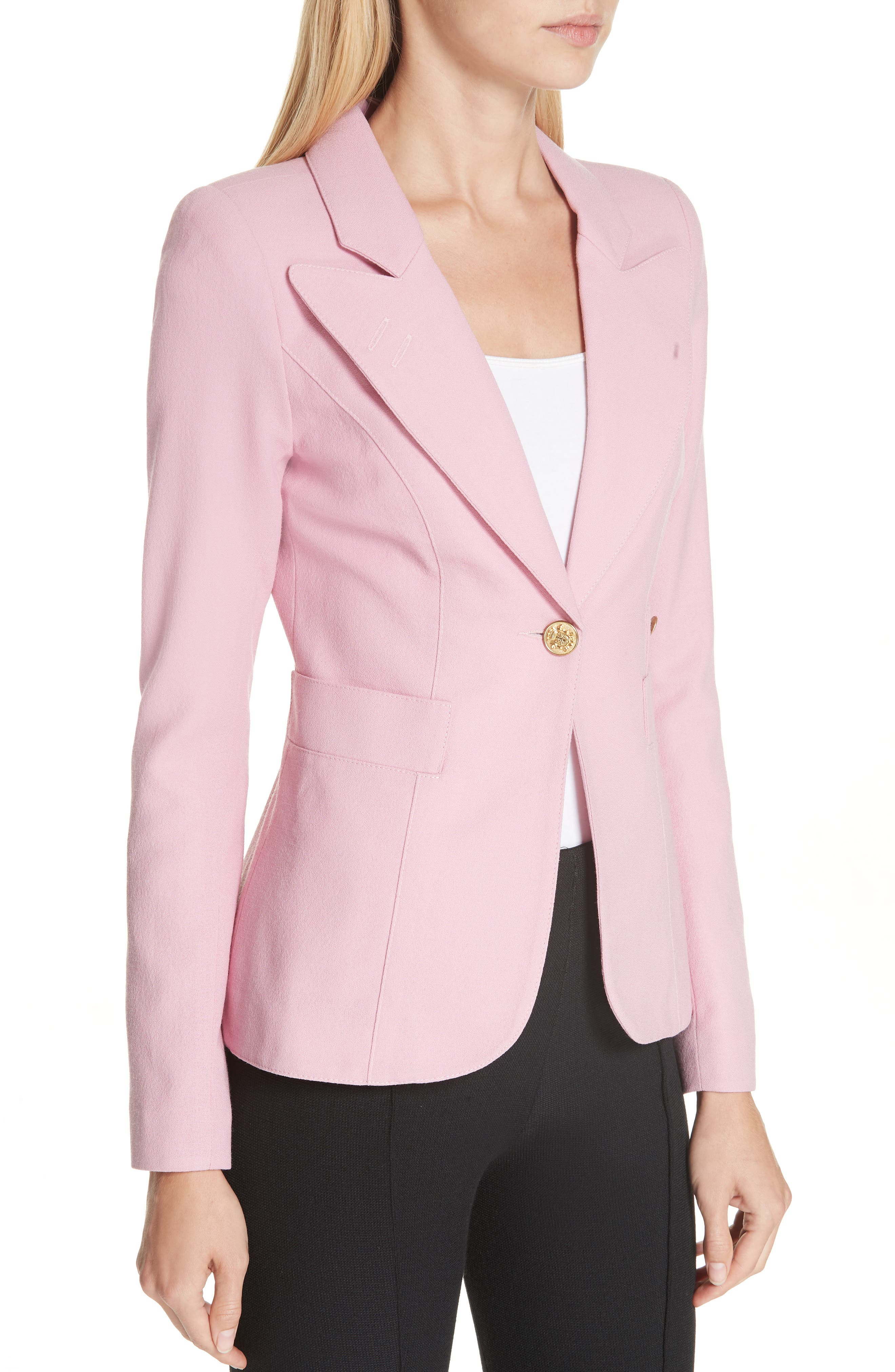 Classic Duchess Blazer,                             Alternate thumbnail 4, color,                             RETHINK PINK