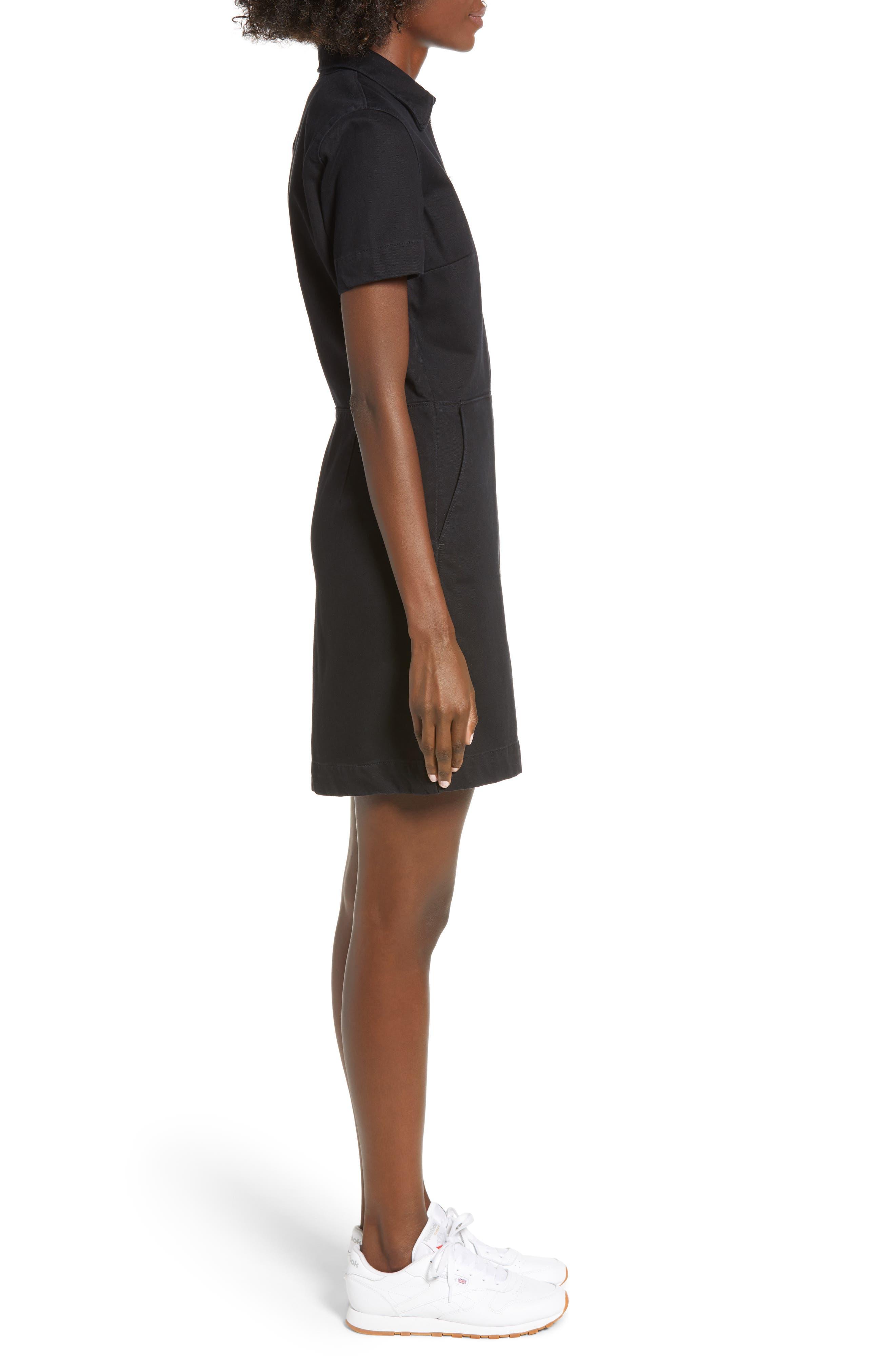 Zip Front Dress,                             Alternate thumbnail 3, color,                             BLACK STONE