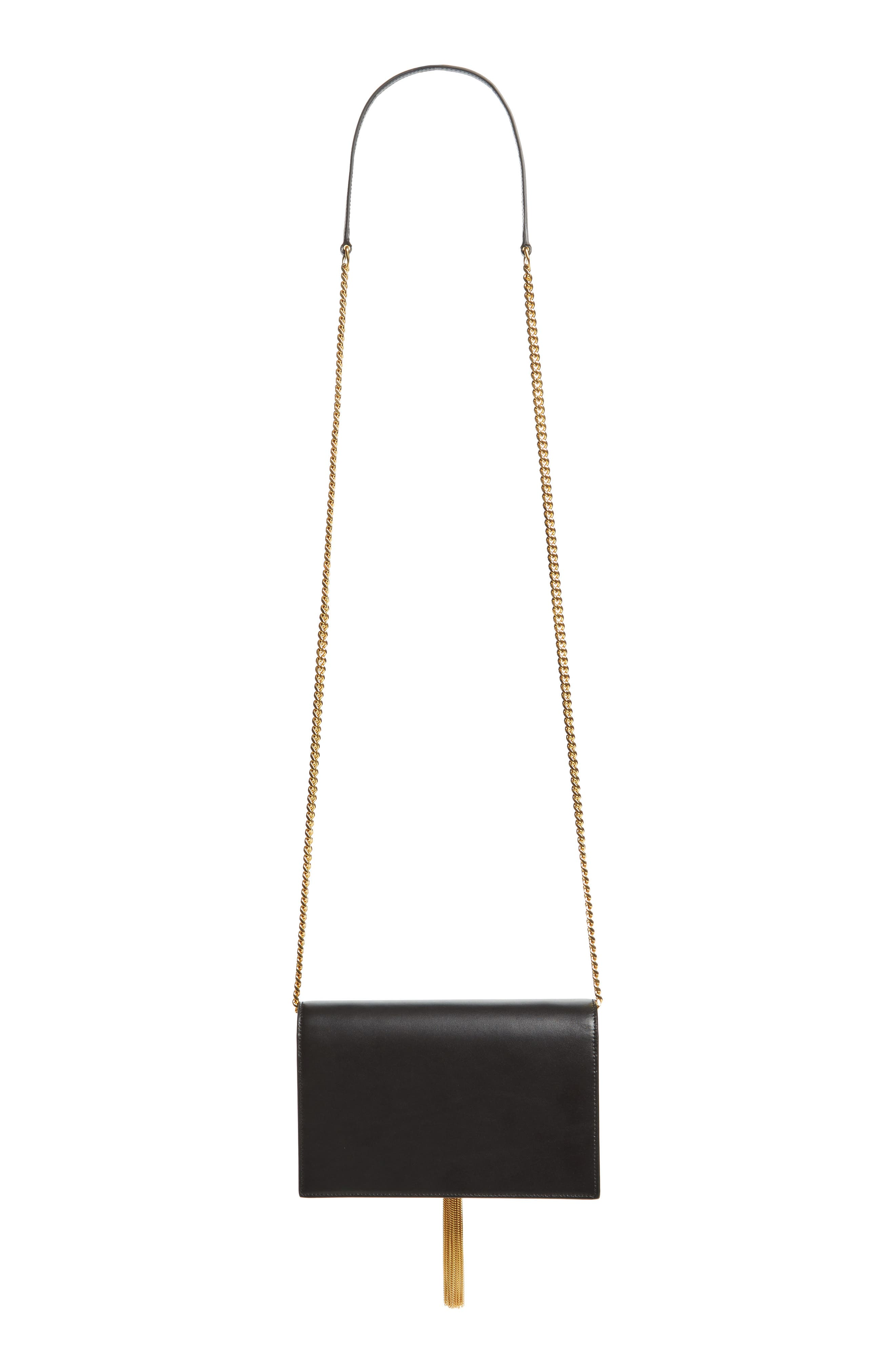 Small Monogram Calfskin Leather Wallet on a Chain,                             Alternate thumbnail 4, color,                             NERO