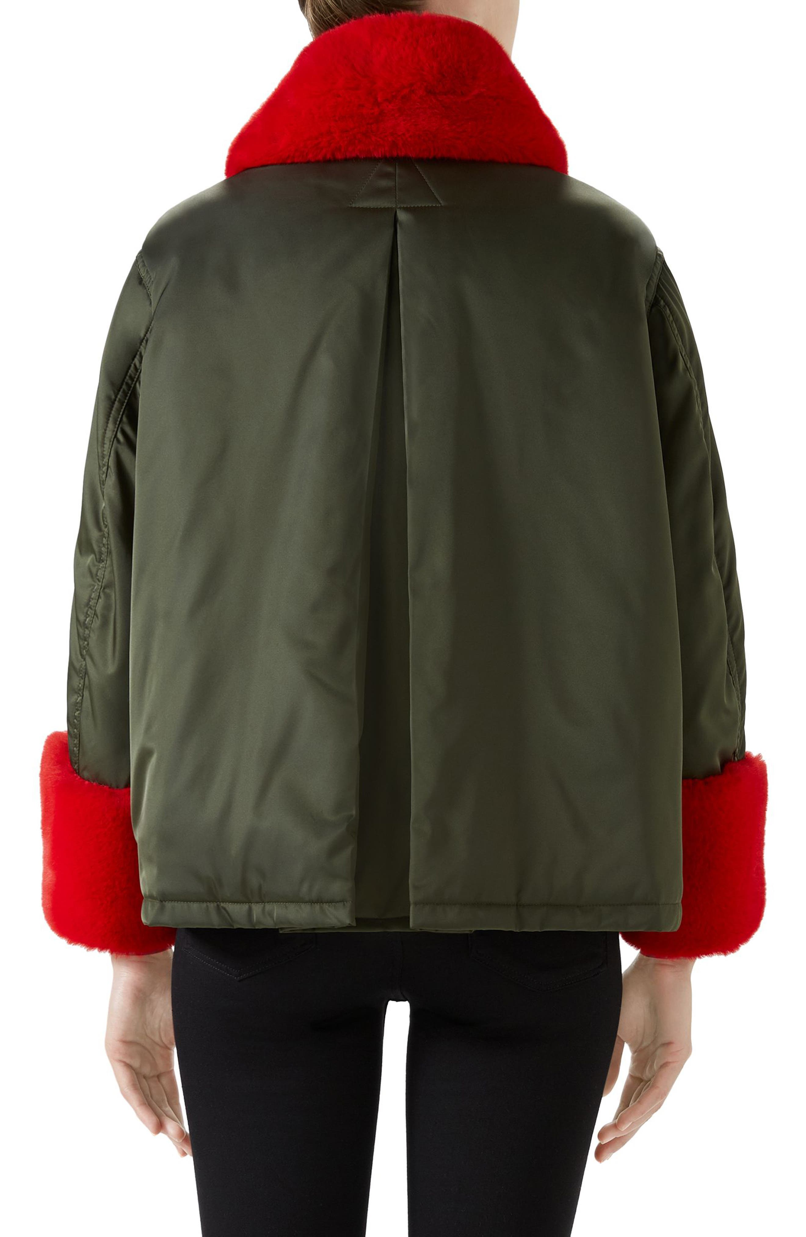 Faux Fur Trim Nylon Flight Jacket,                             Alternate thumbnail 2, color,                             MILITARY GREEN/ MULTI