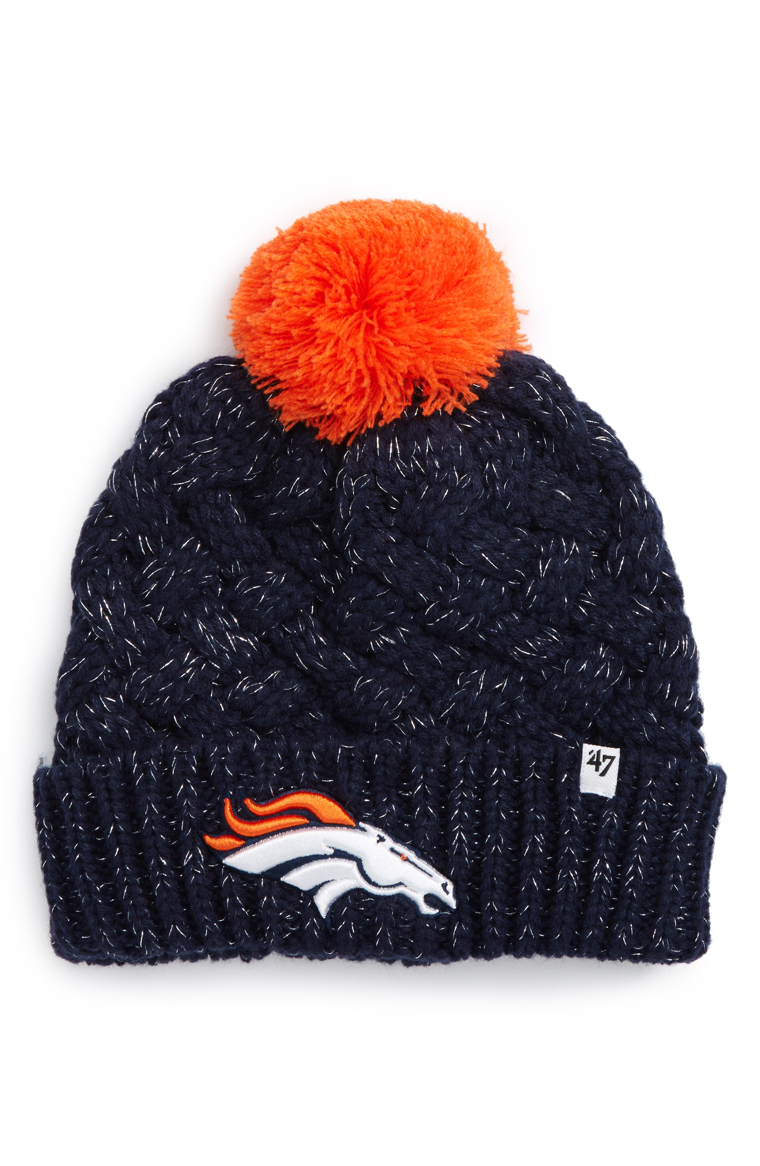 Fiona Denver Broncos Pom Beanie,                             Main thumbnail 1, color,                             410