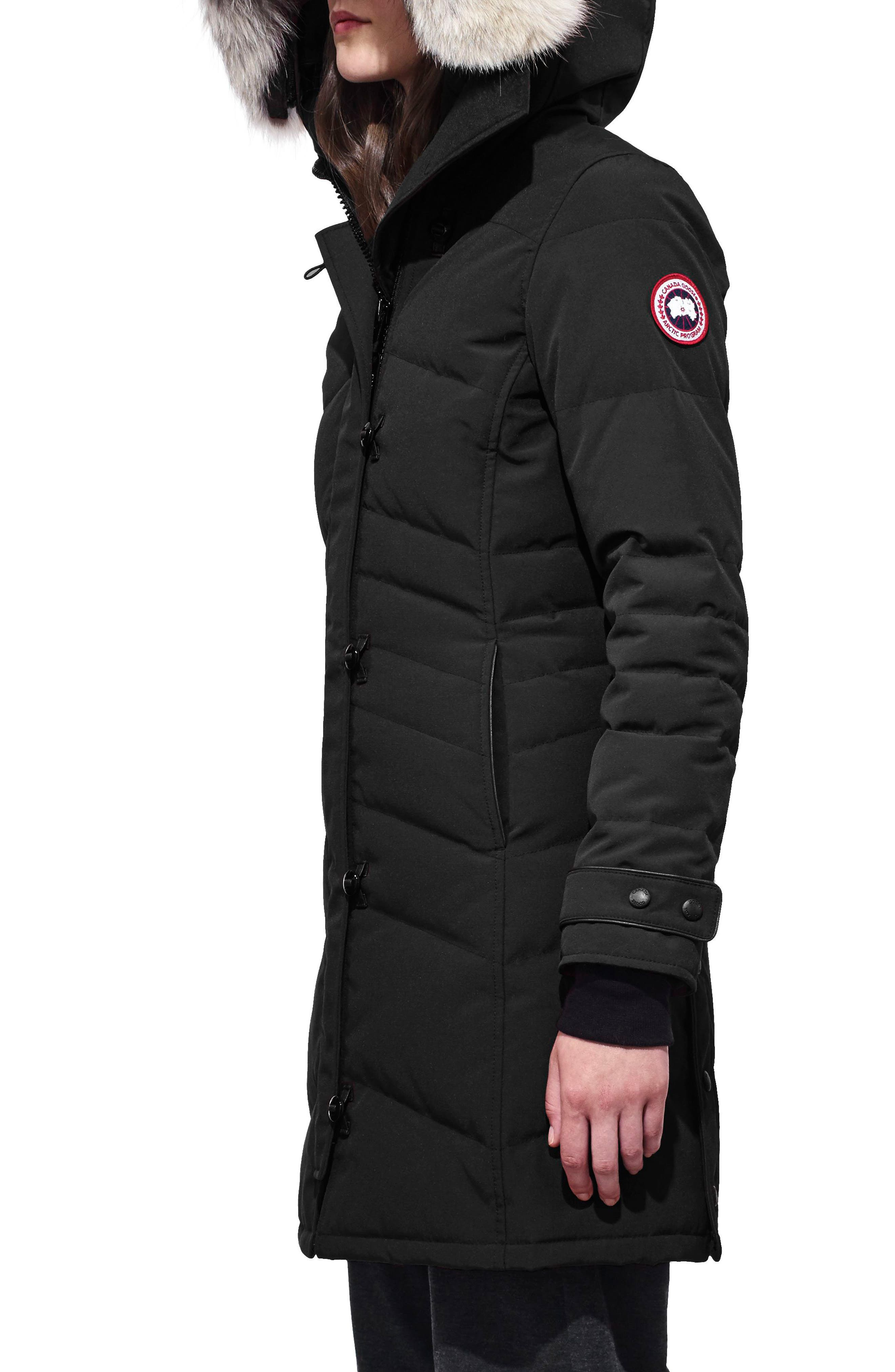 Lorette Fusion Fit Hooded Down Parka with Genuine Coyote Fur Trim,                             Alternate thumbnail 3, color,                             001