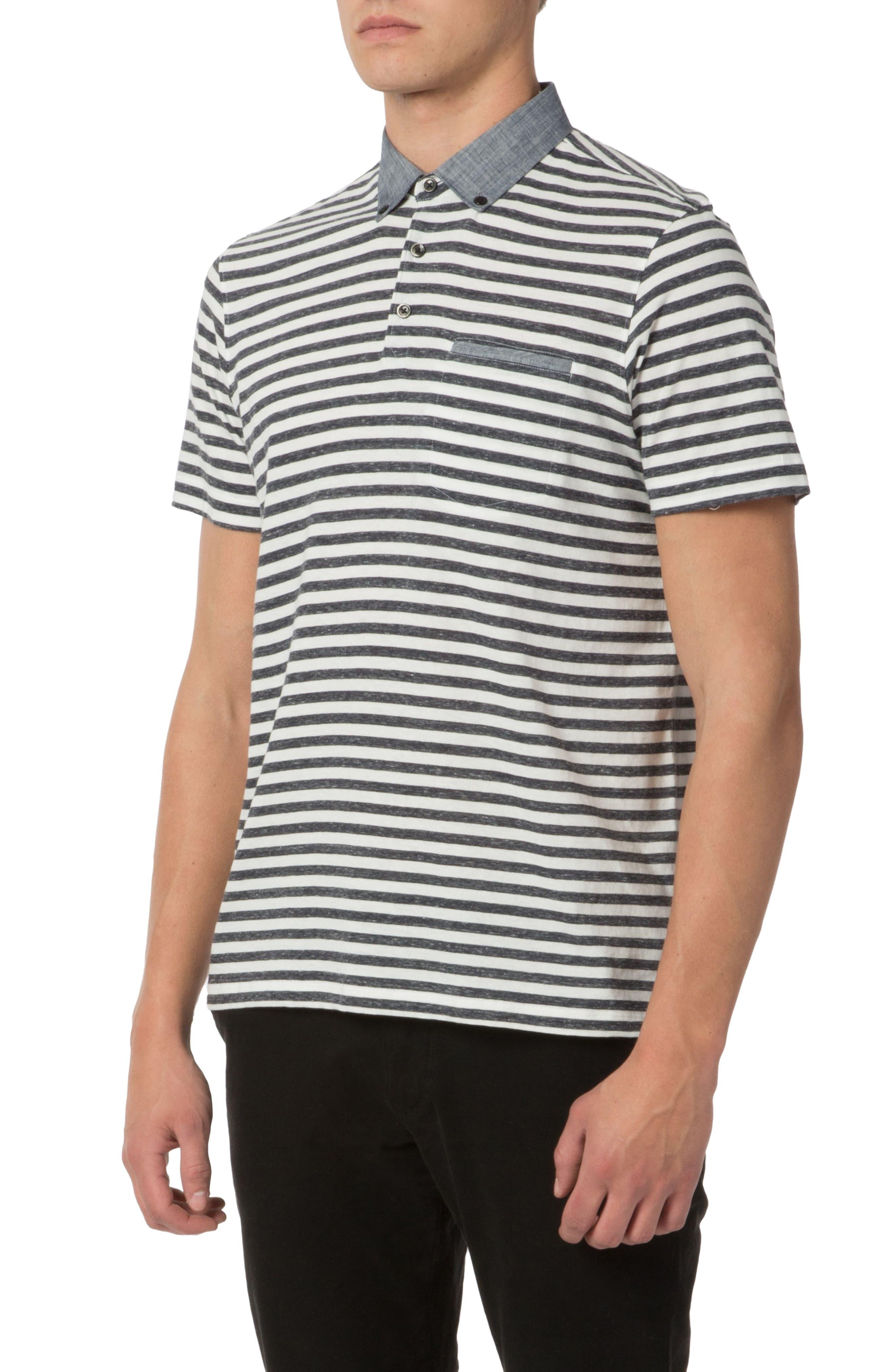 Trim Fit Stripe Linen Polo,                             Alternate thumbnail 4, color,                             413