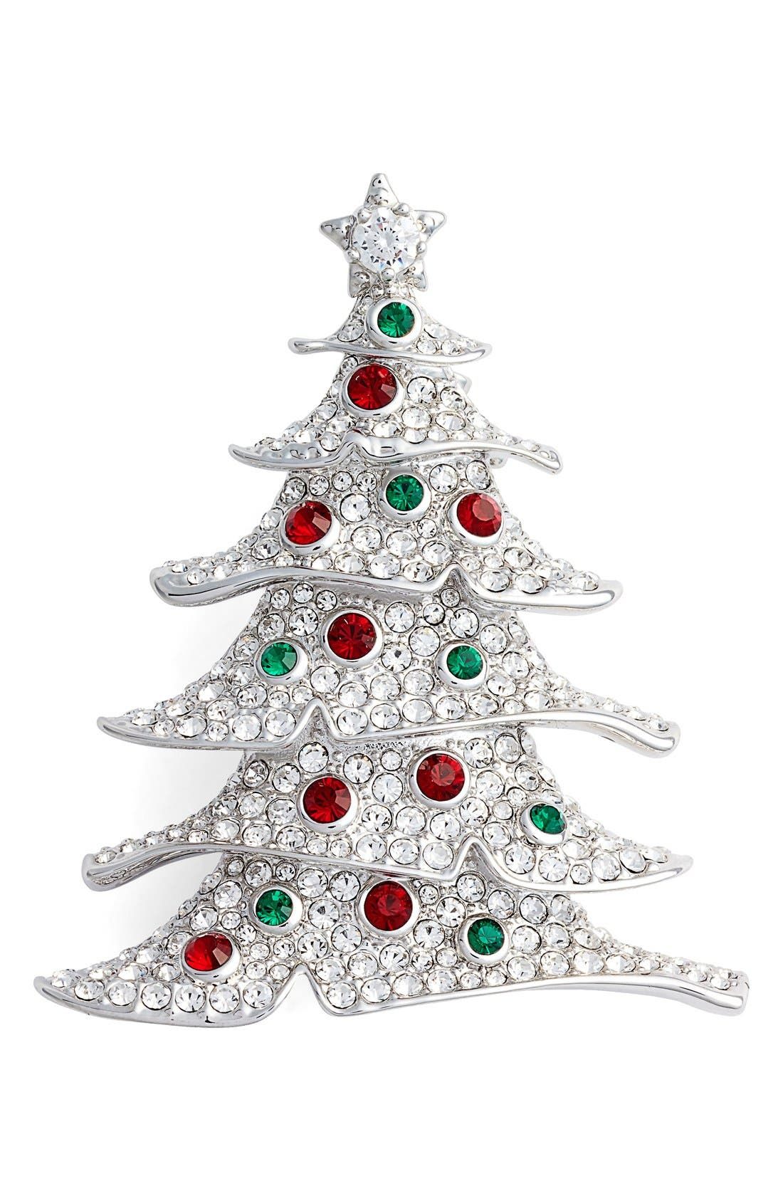 Jolly Christmas Tree Pin,                         Main,                         color, SILVER