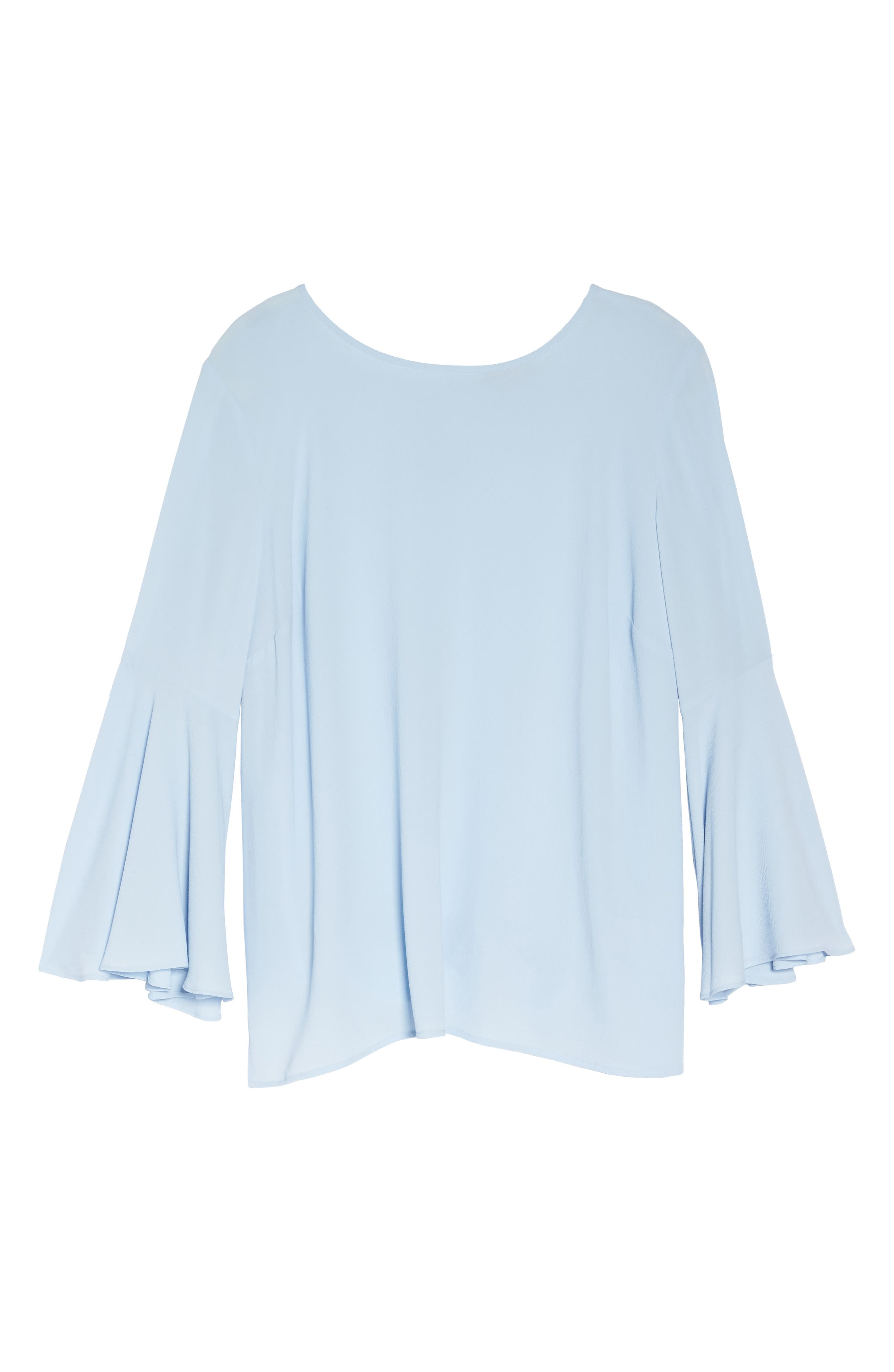 Bell Sleeve Blouse,                             Alternate thumbnail 6, color,                             LIGHT CAMEO BLUE