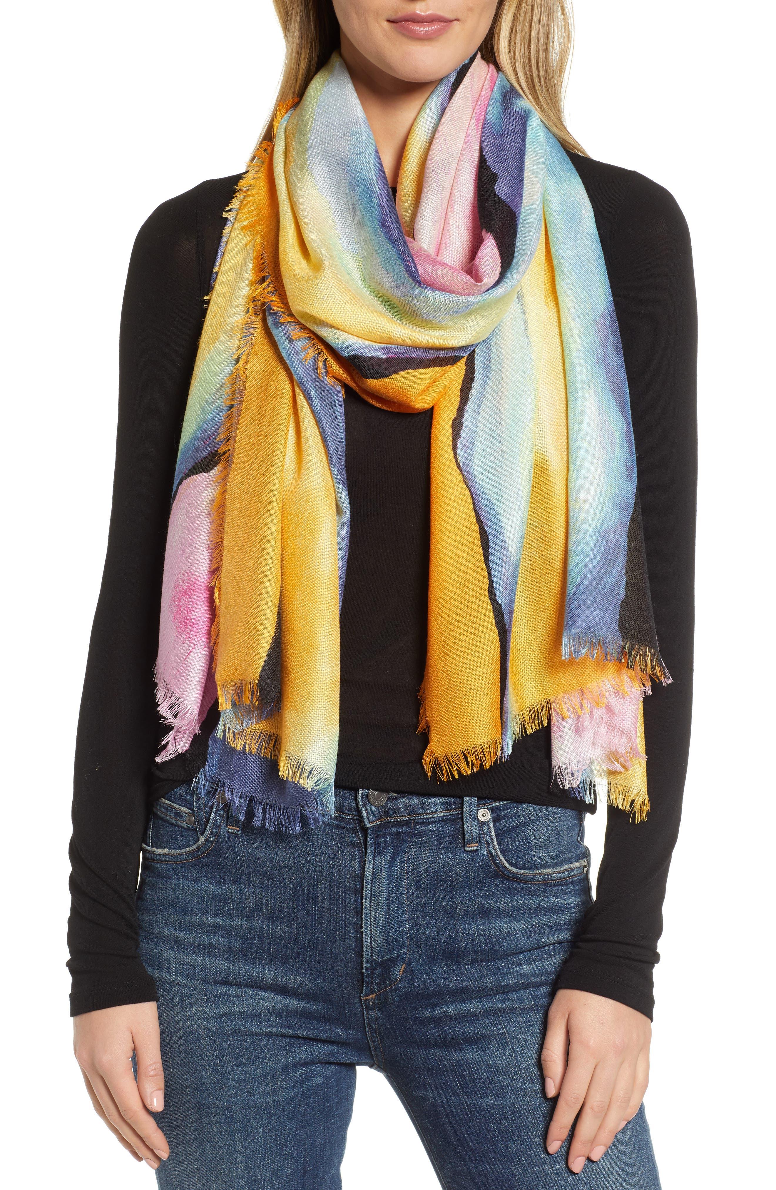NORDSTROM Eyelash Trim Print Cashmere & Silk Wrap, Main, color, PINK PAINT STRIPE PRINT