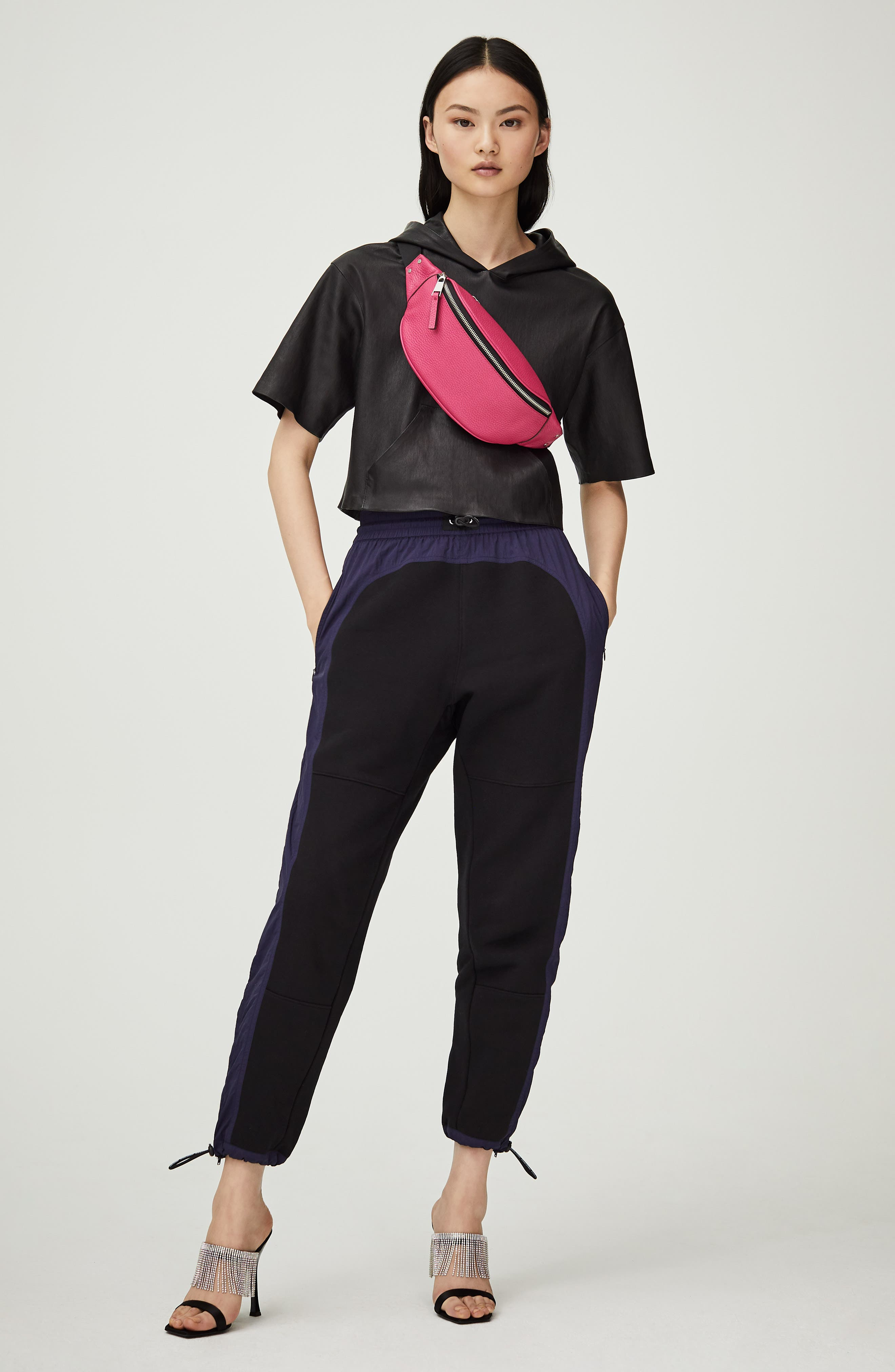 TREASURE & BOND,                             Mason Pebbled Leather Belt Bag,                             Alternate thumbnail 9, color,                             BLACK