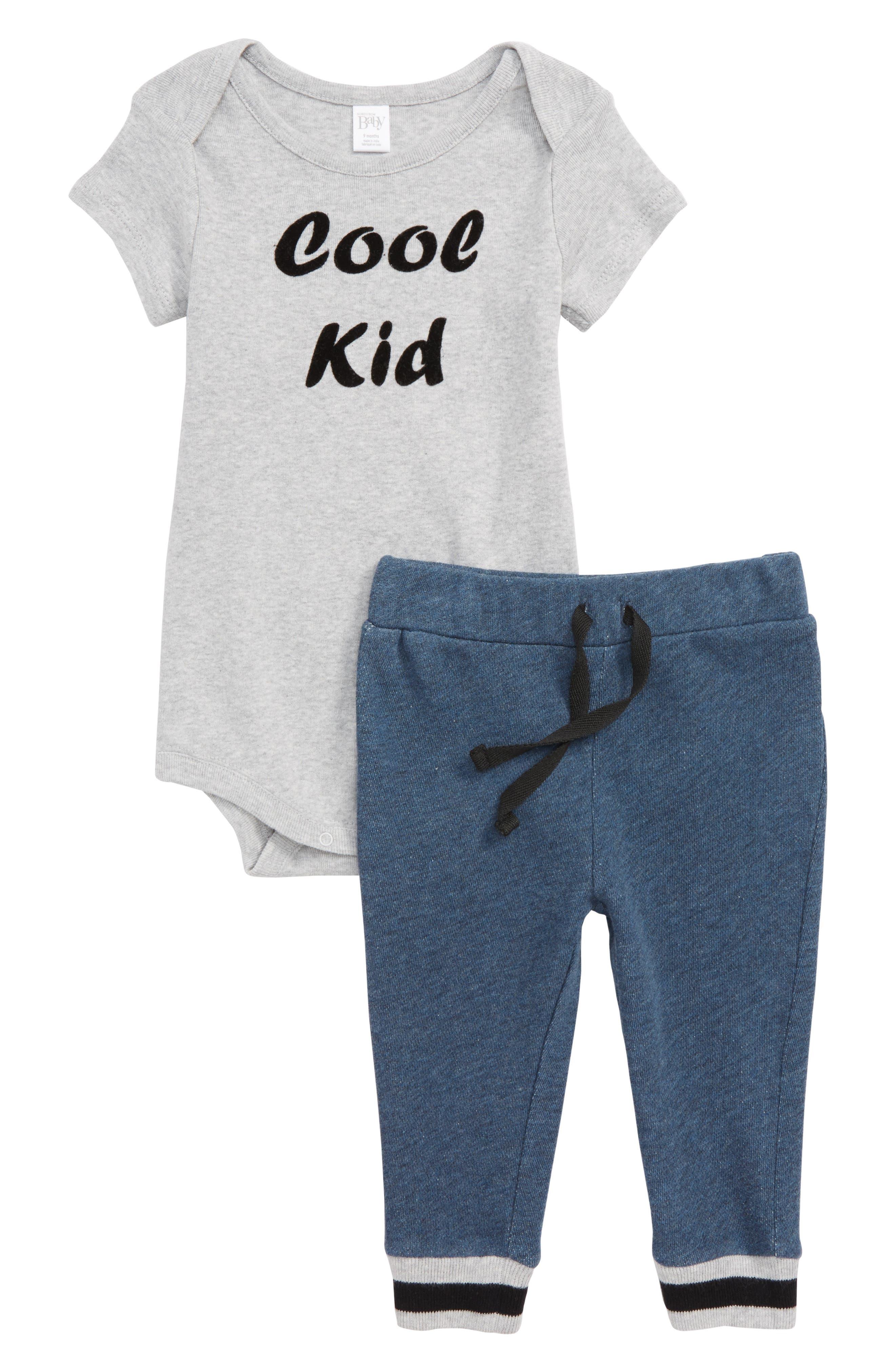 Cool Kid Bodysuit & Sweatpants Set,                             Main thumbnail 1, color,                             GREY ASH HEATHER COOL KID