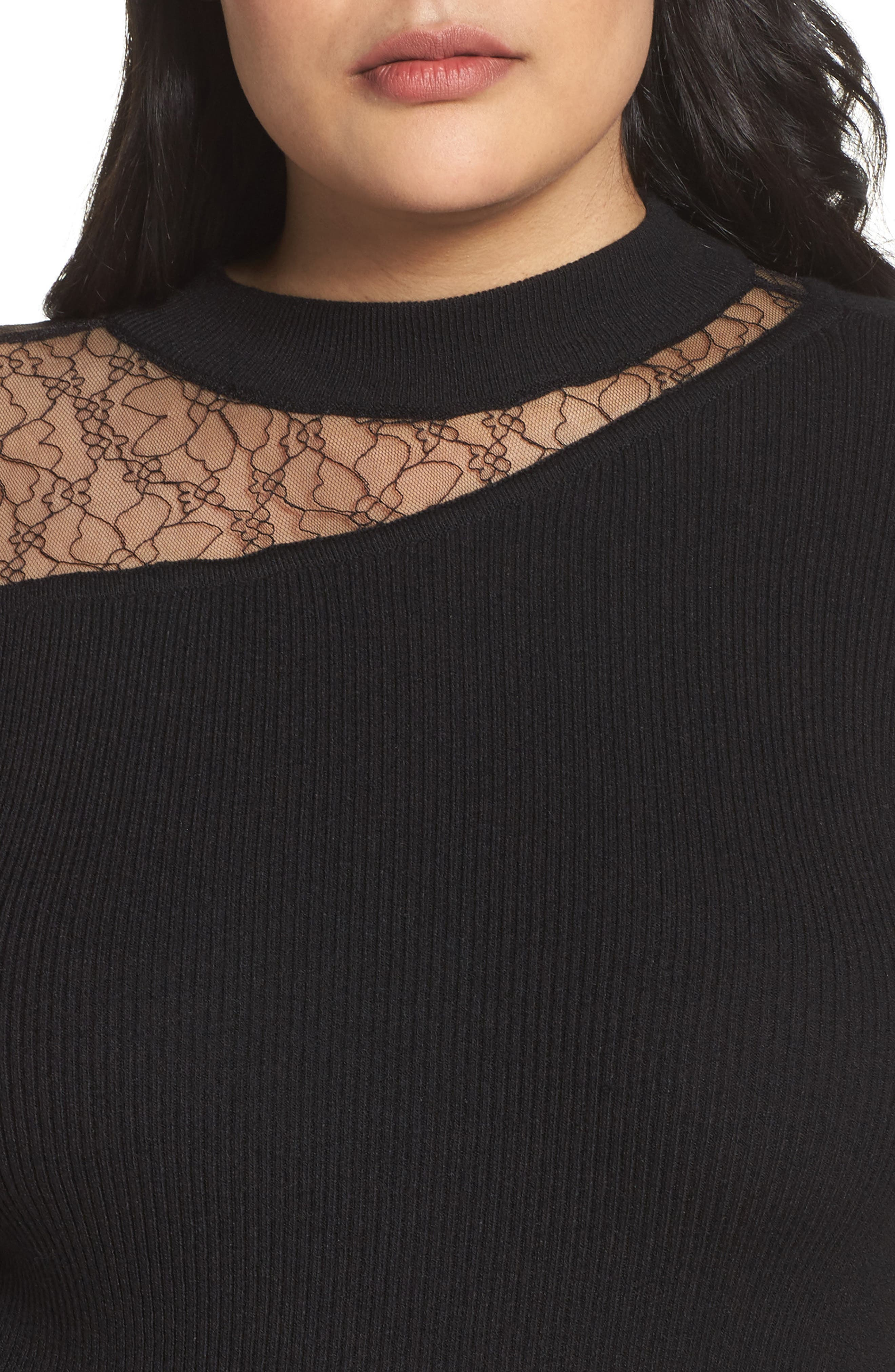 Lace Inset Ribbed Sweater,                             Alternate thumbnail 4, color,                             001