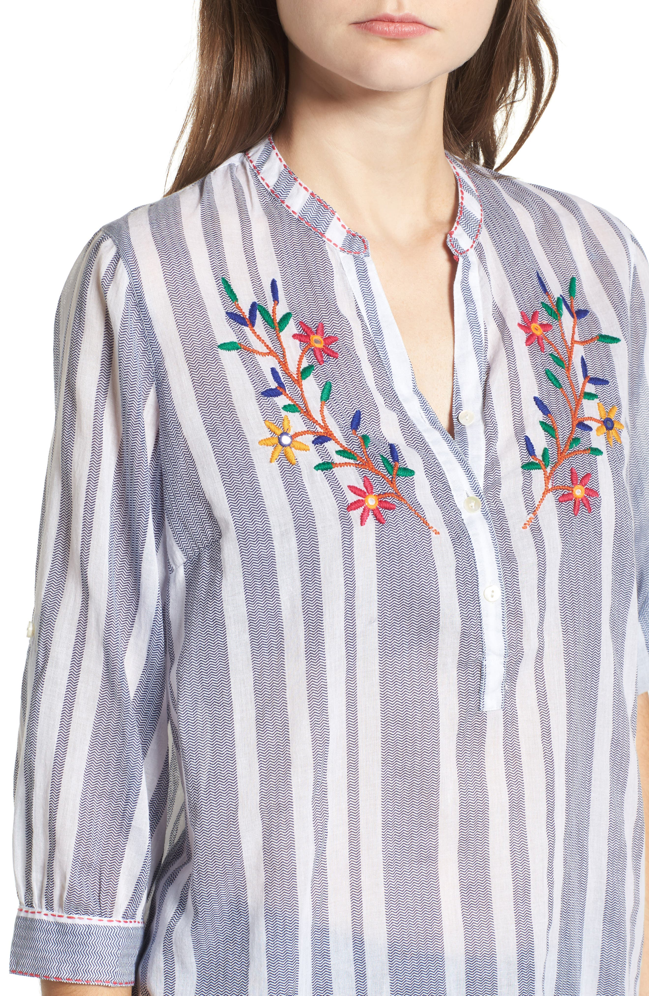 Setting Sail Embroidered Stripe Henley,                             Alternate thumbnail 4, color,                             470