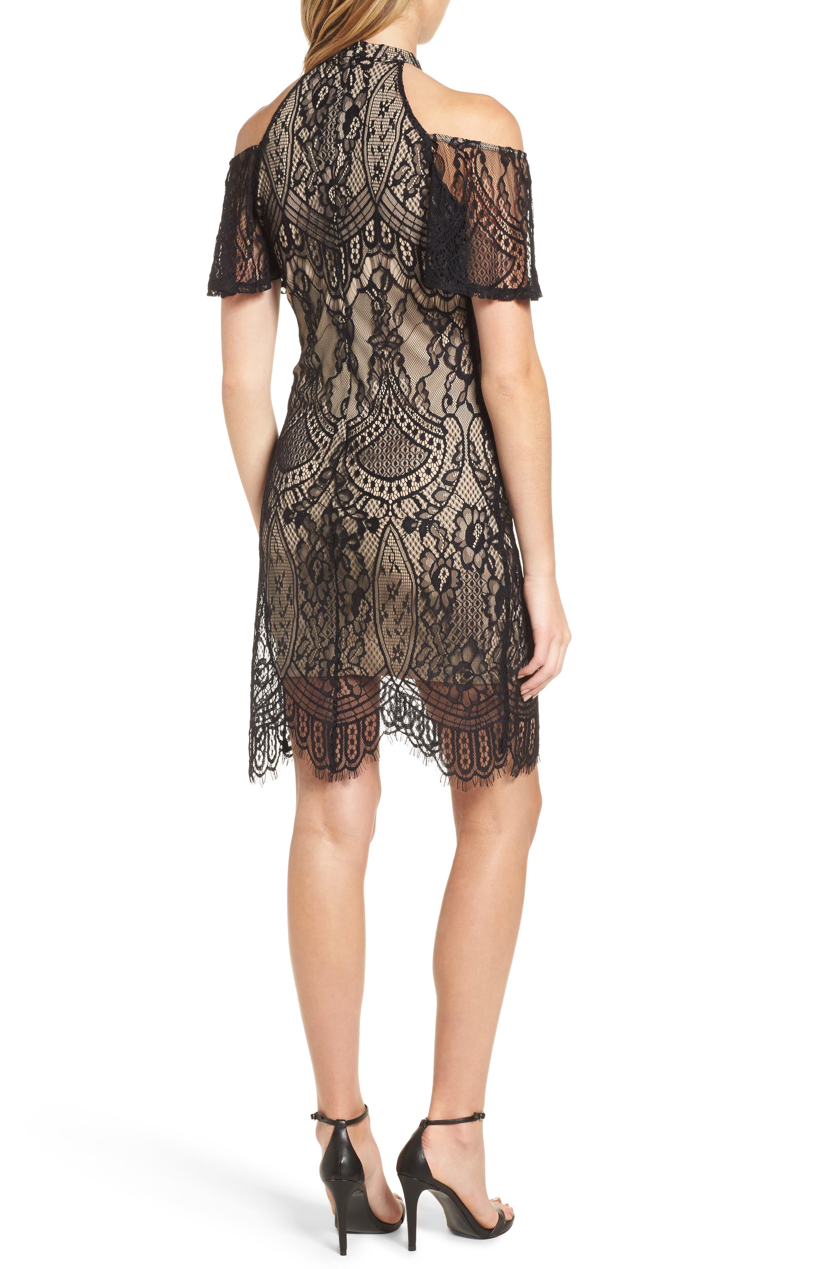 Lace Cold Shoulder Dress,                             Alternate thumbnail 2, color,                             002