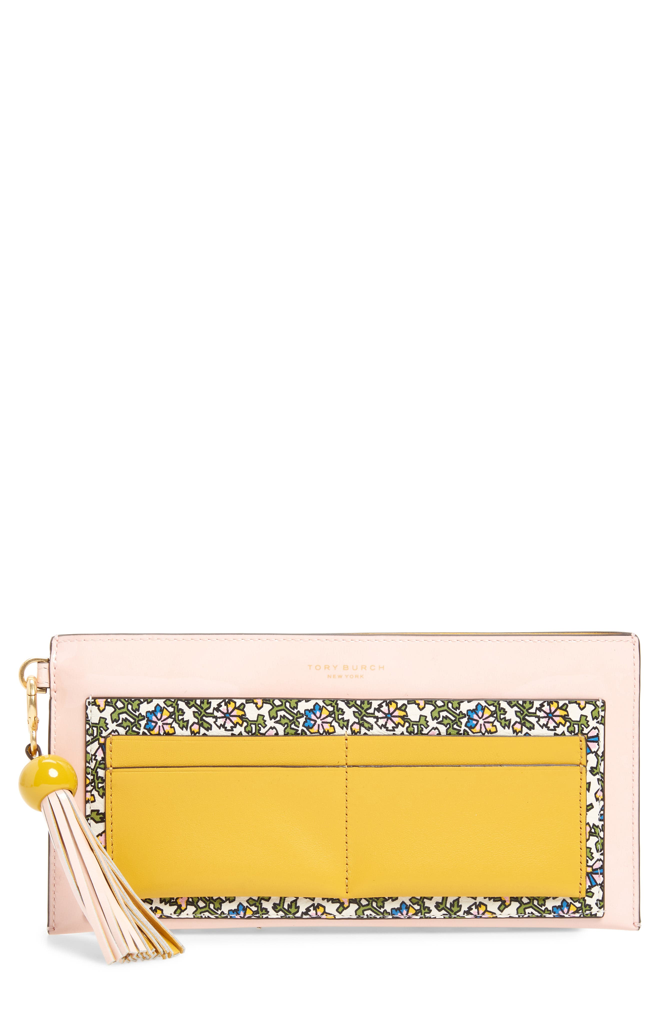 Colorblock Leather Wallet,                             Main thumbnail 1, color,                             IVORY WILD PANSY