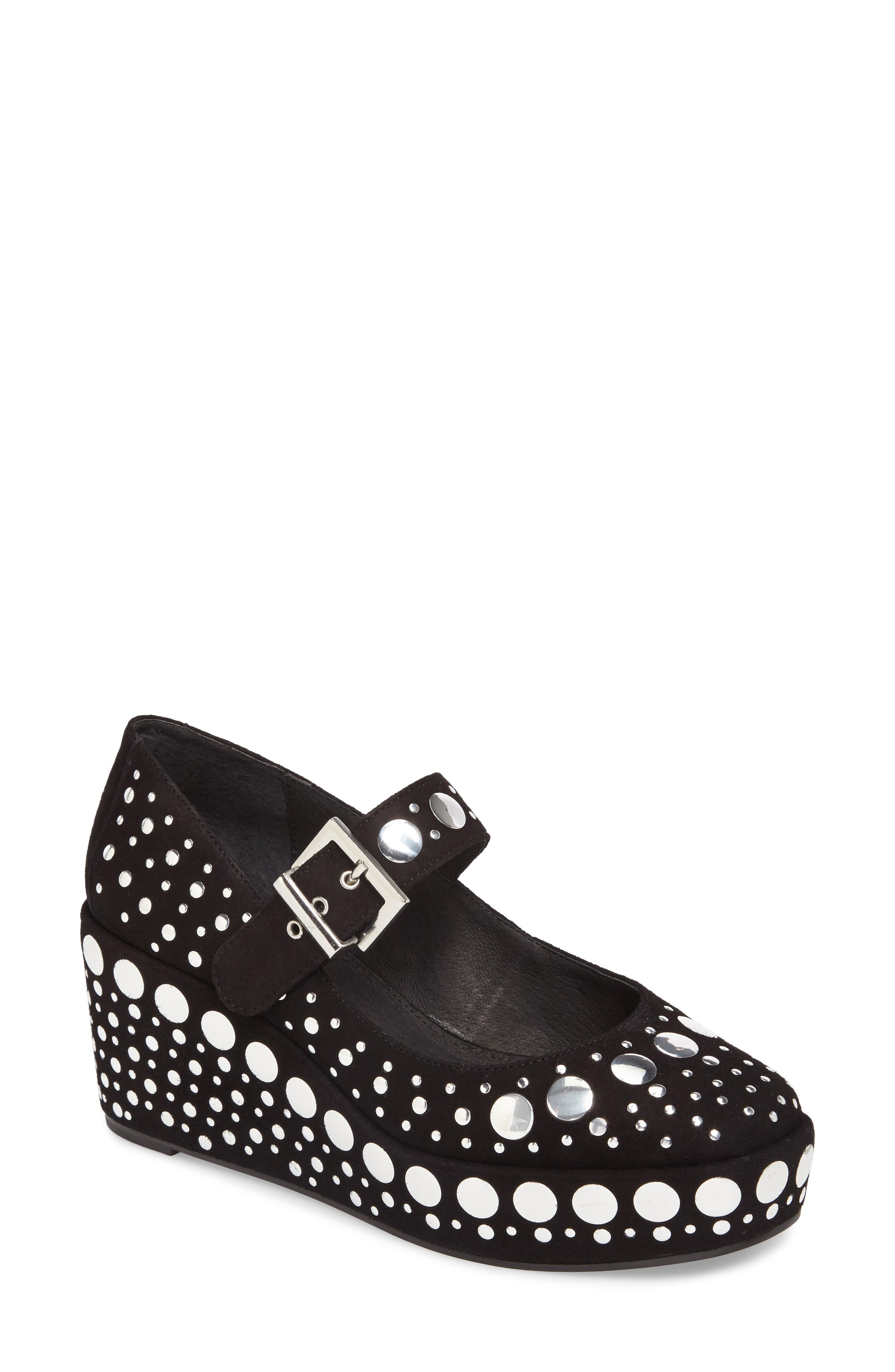 Giselle Studded Mary Jane Wedge,                             Main thumbnail 1, color,                             001
