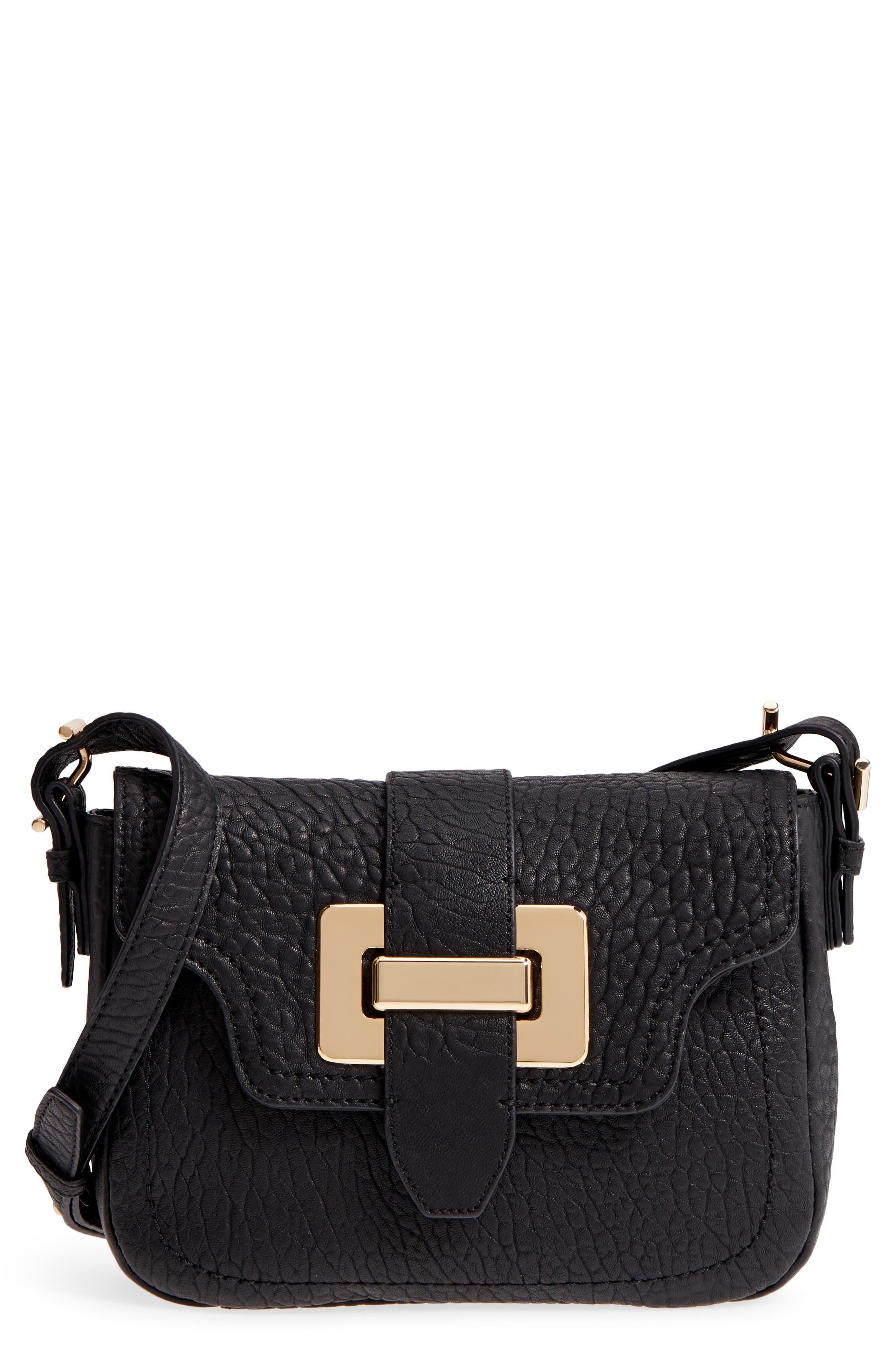 Fava Leather Crossbody Bag,                             Main thumbnail 1, color,                             001