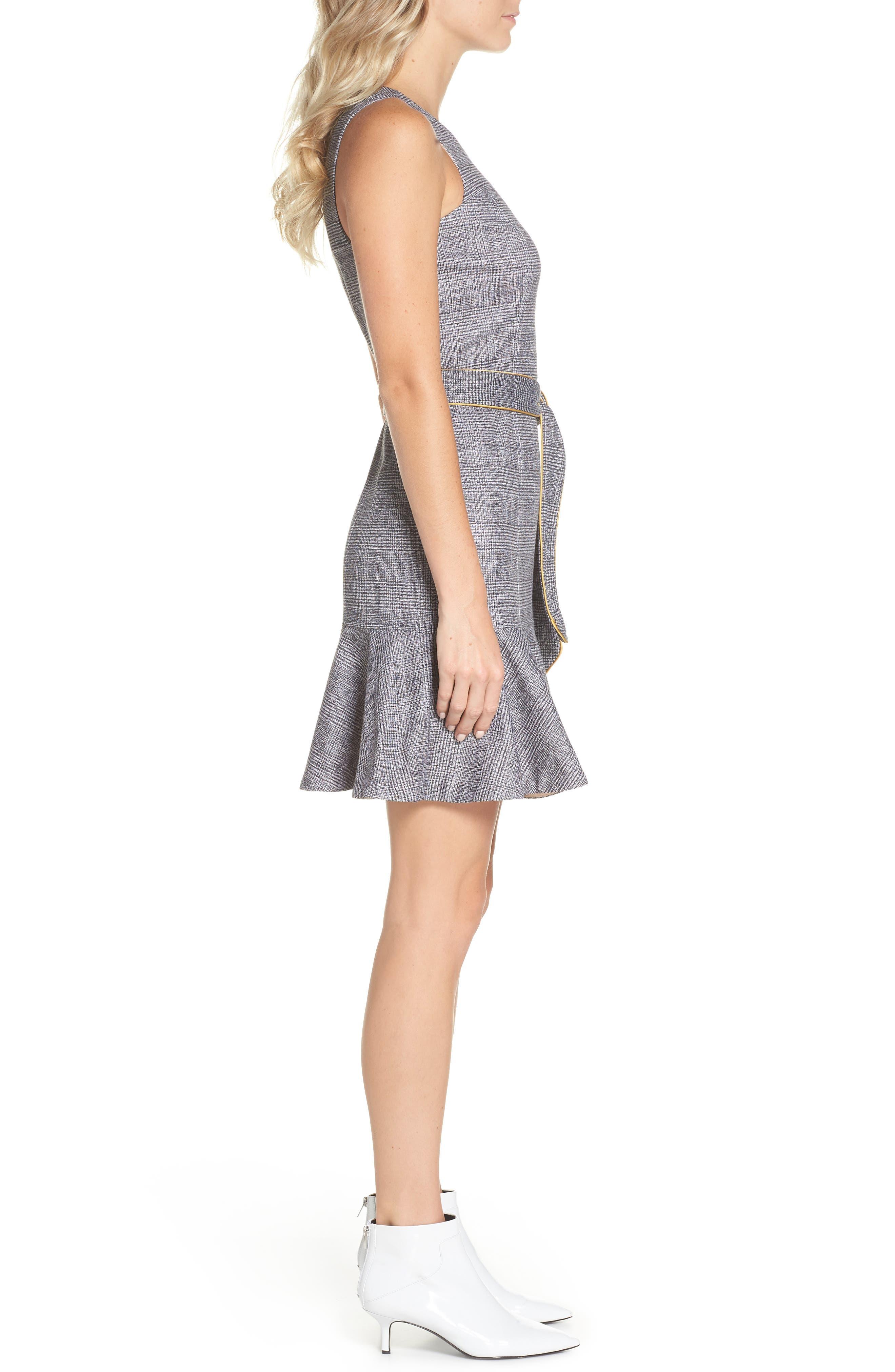 CHELSEA28,                             Sleeveless Plaid Dress,                             Alternate thumbnail 3, color,                             001