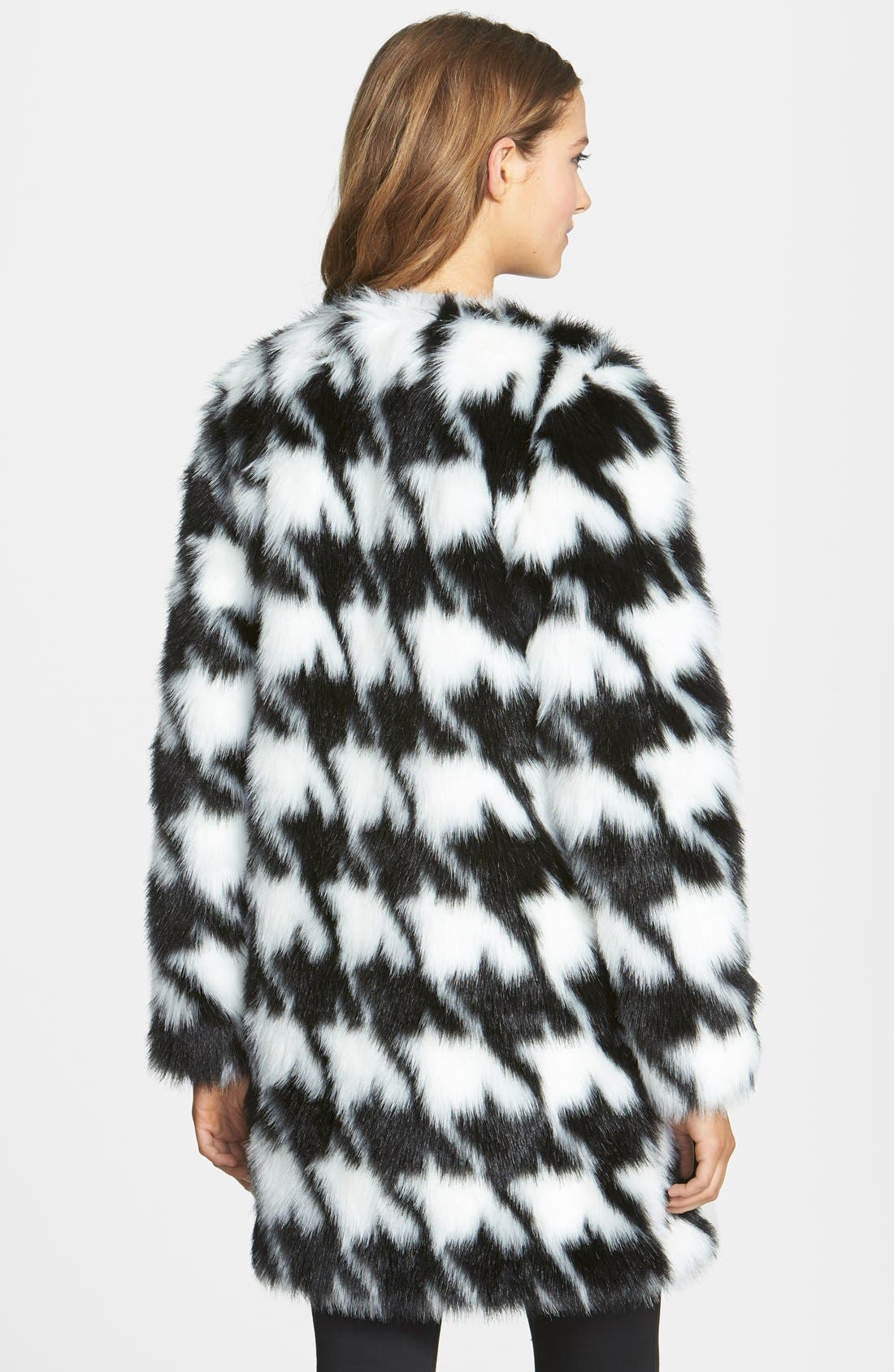 Houndstooth Faux Fur Coat,                             Alternate thumbnail 2, color,                             902