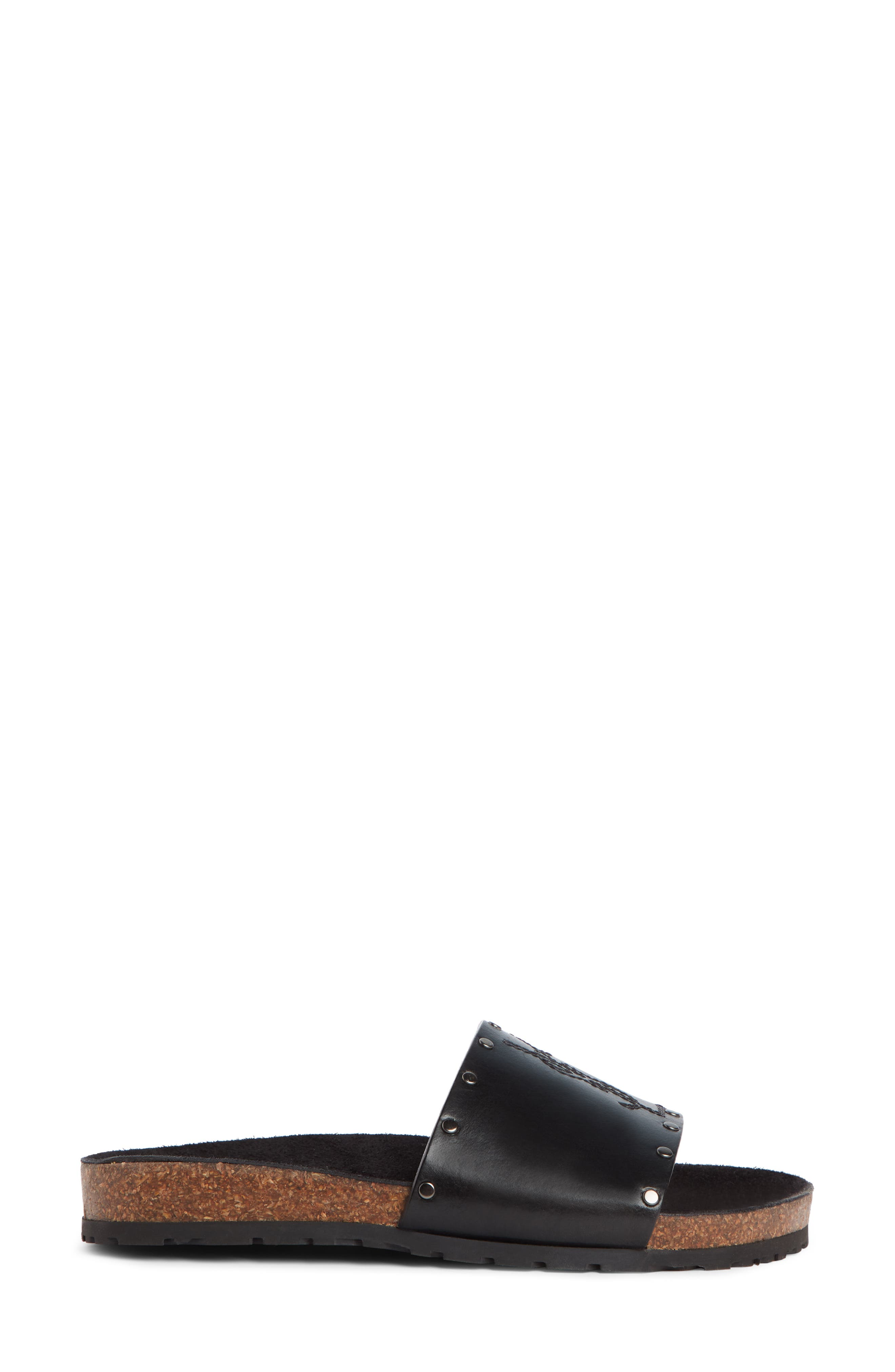 Jimmy Logo Stud Slide Sandal,                             Alternate thumbnail 3, color,                             BLACK LEATHER