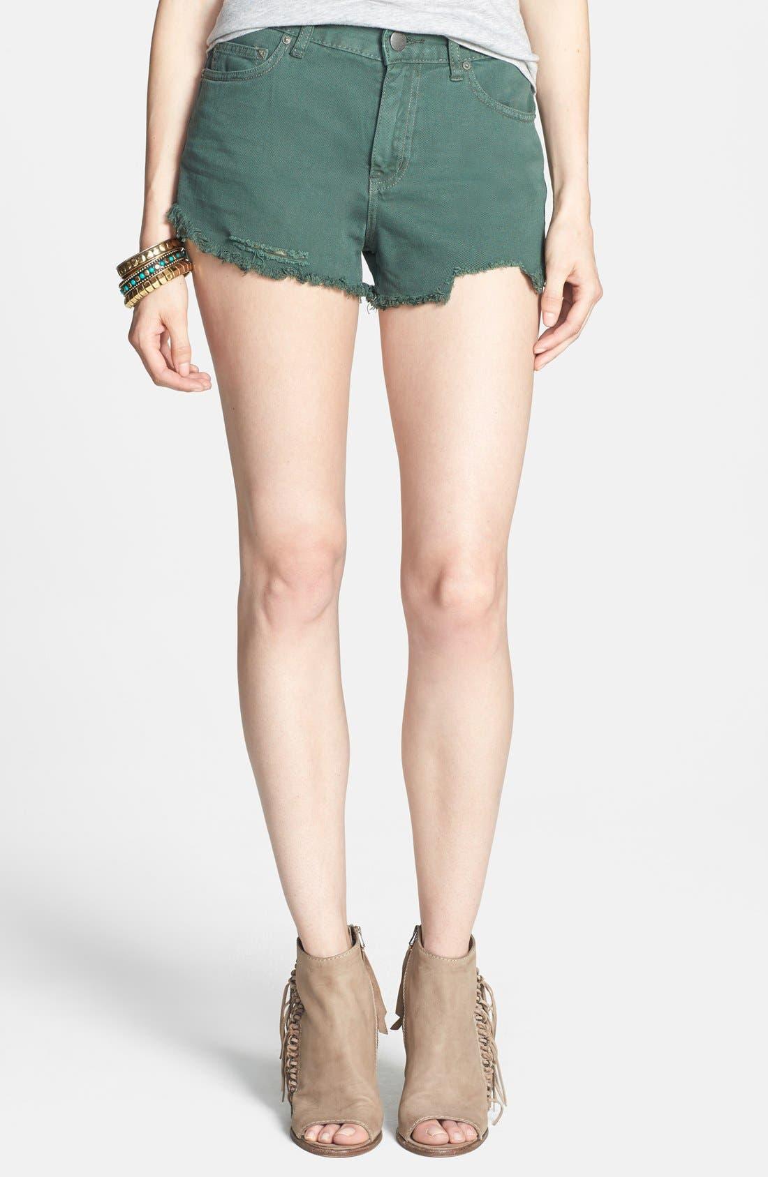 'Dolphin' Cutoff Denim Shorts,                             Main thumbnail 4, color,