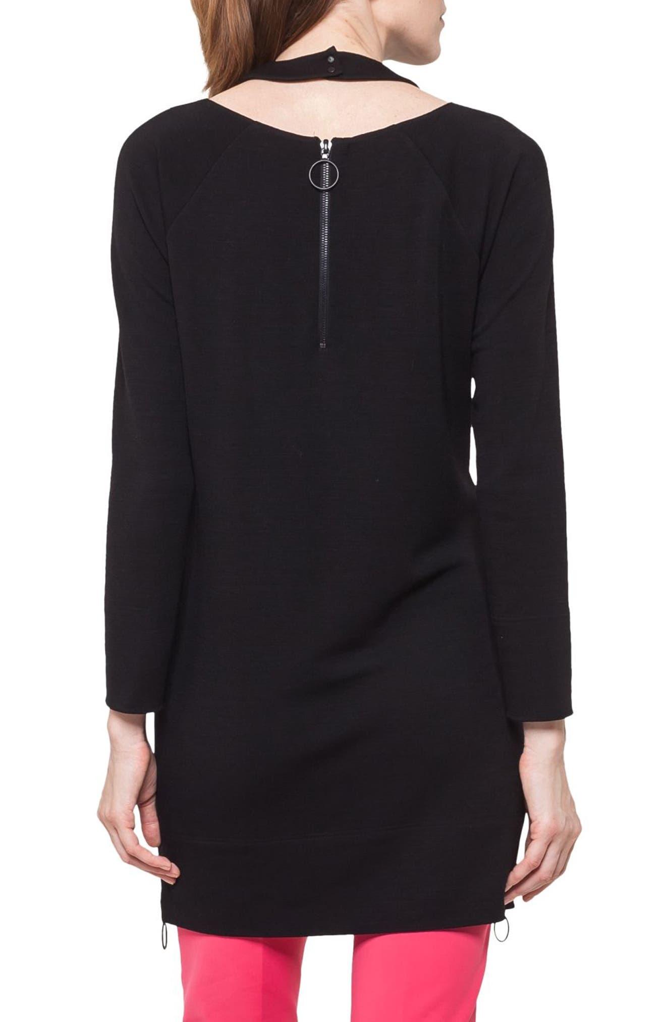 Choker Neck Tunic Dress,                             Alternate thumbnail 2, color,                             BLACK